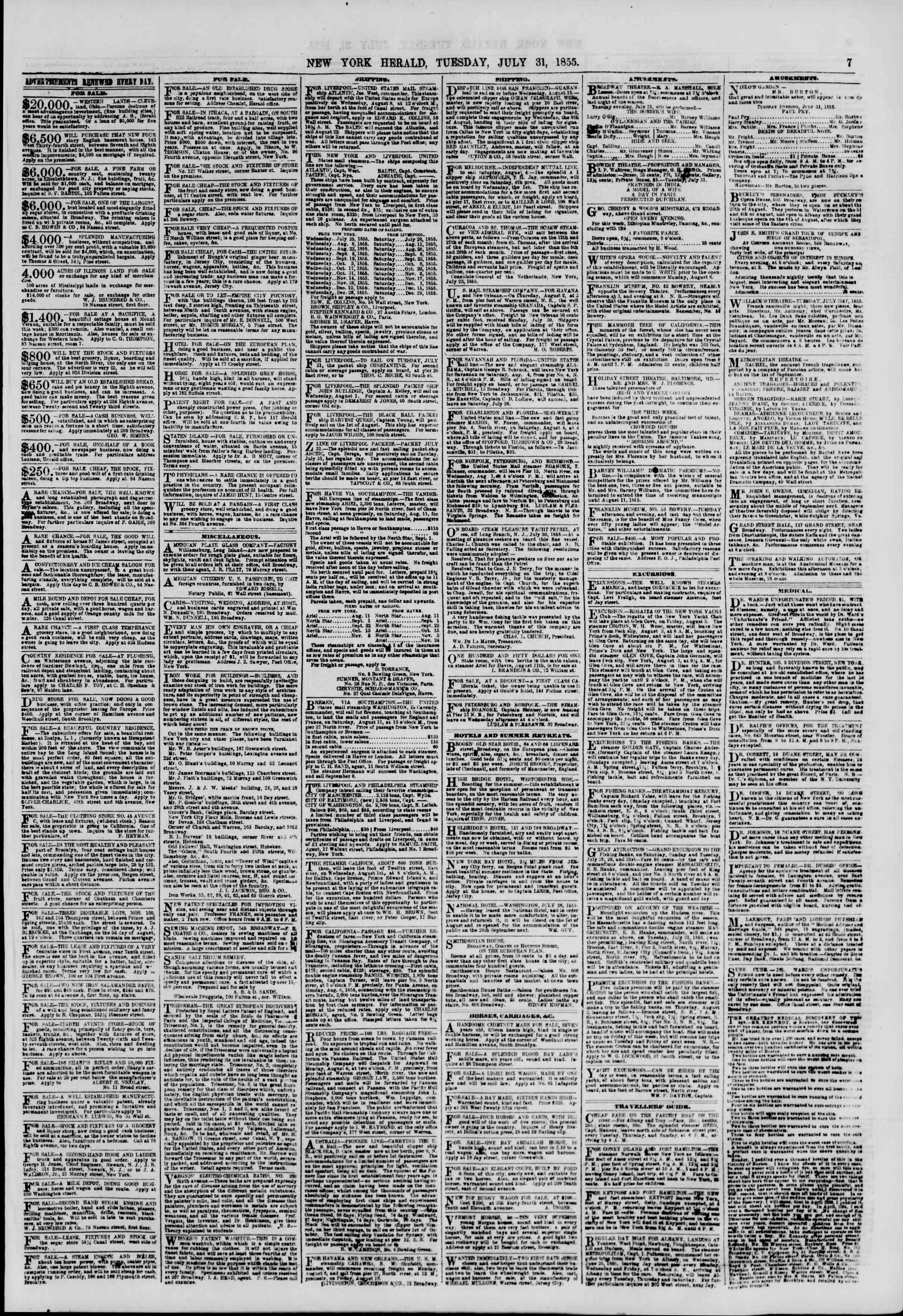 Newspaper of The New York Herald dated July 31, 1855 Page 7