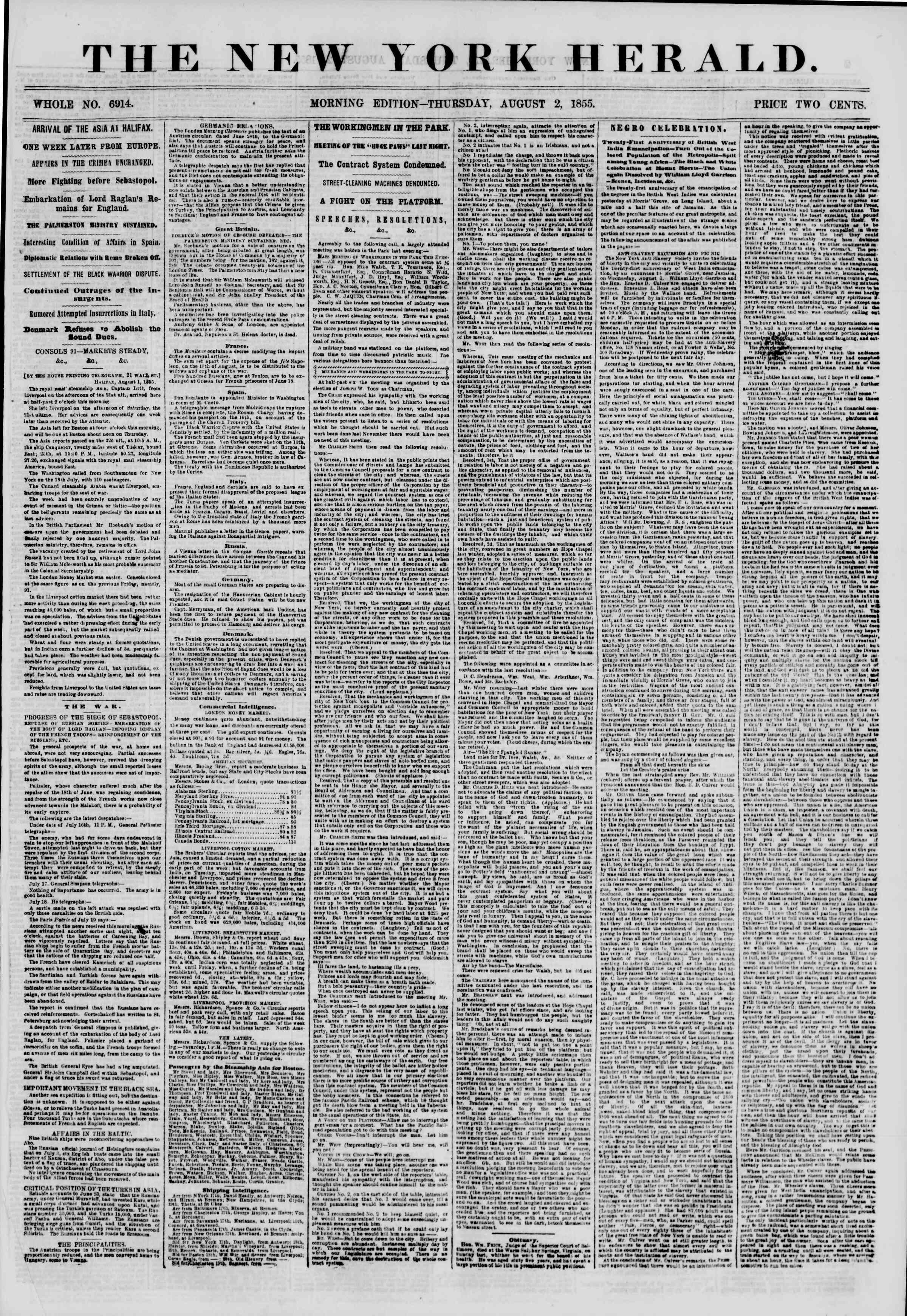 Newspaper of The New York Herald dated August 2, 1855 Page 1