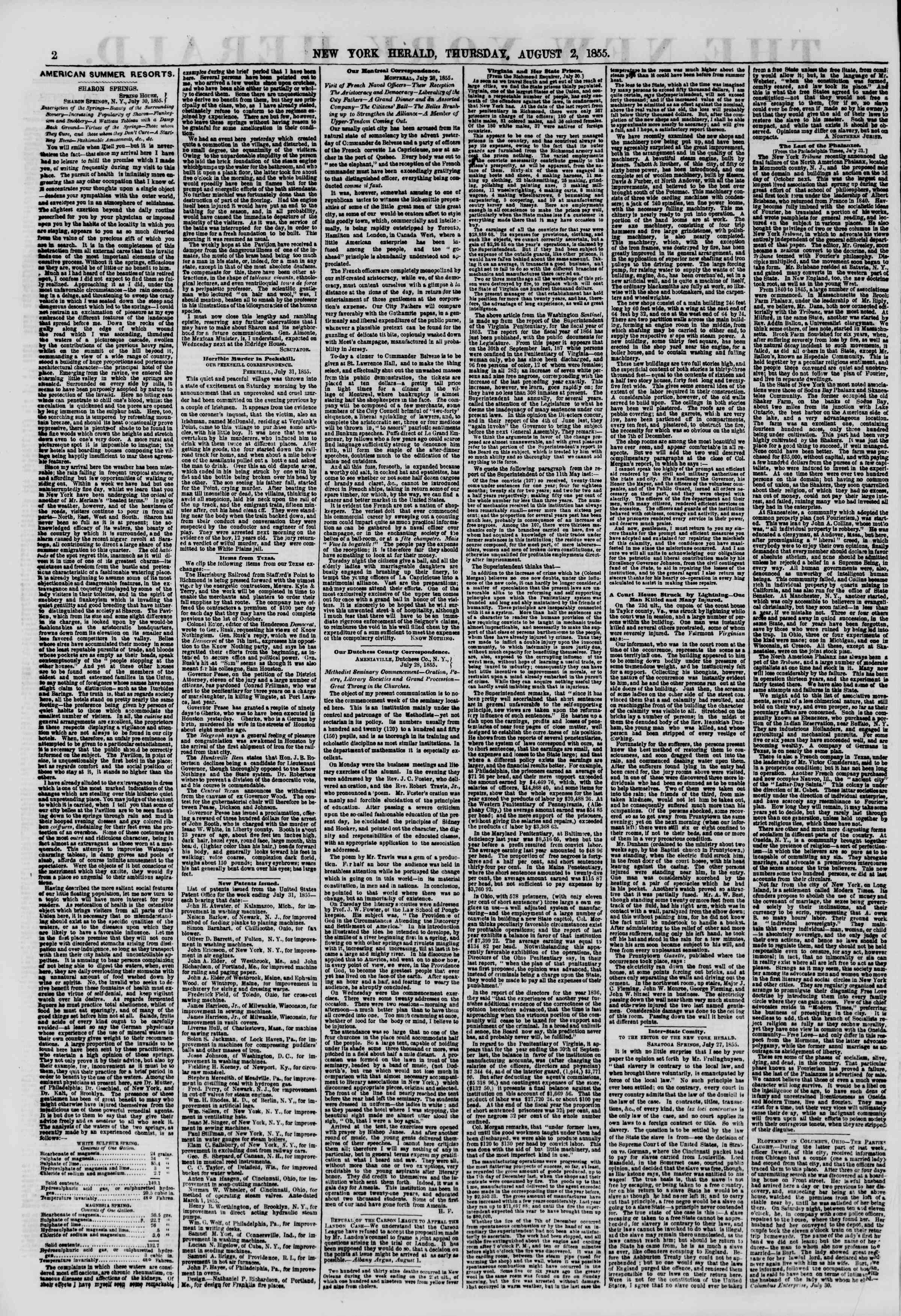 Newspaper of The New York Herald dated 2 Ağustos 1855 Page 2