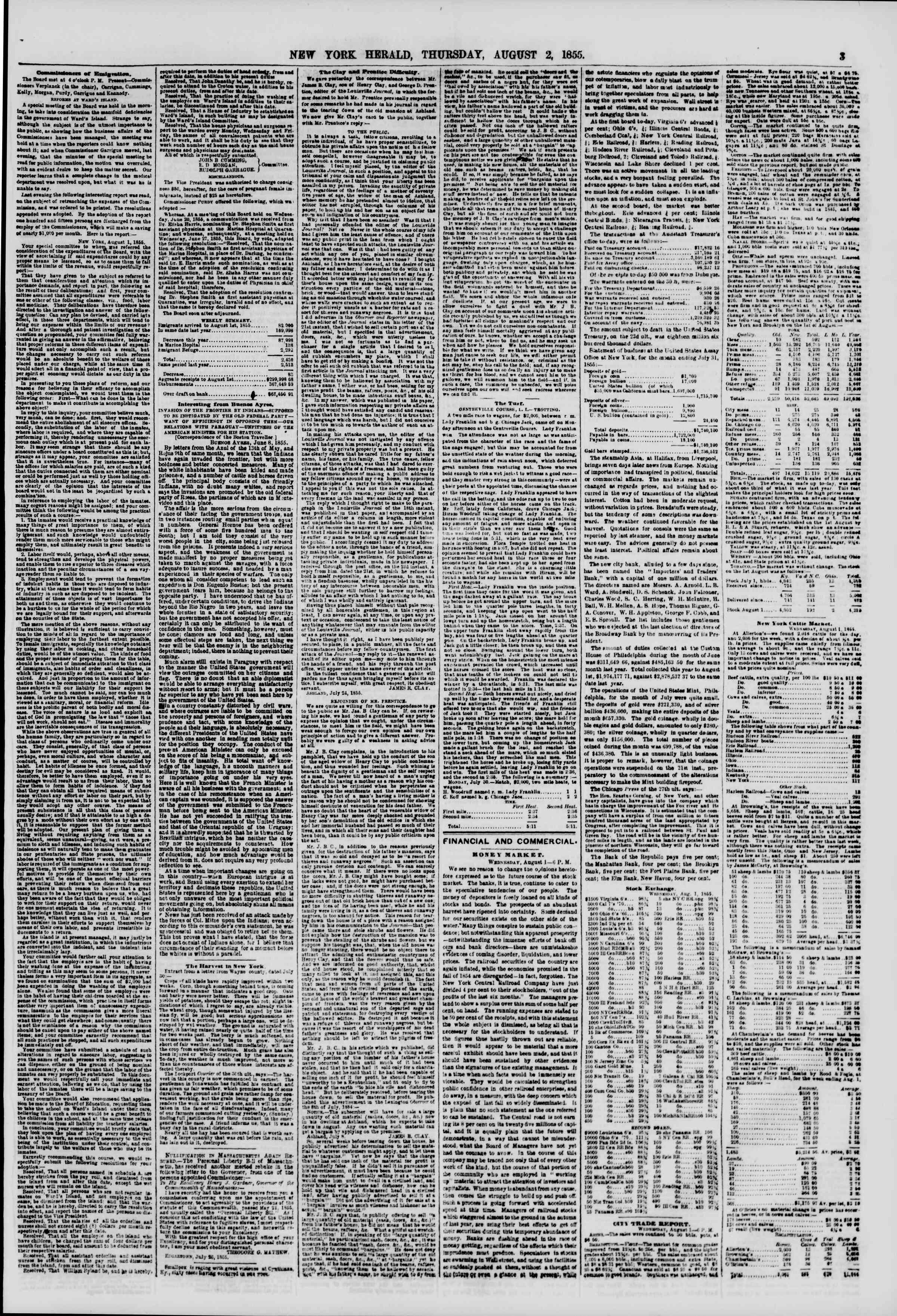 Newspaper of The New York Herald dated August 2, 1855 Page 3