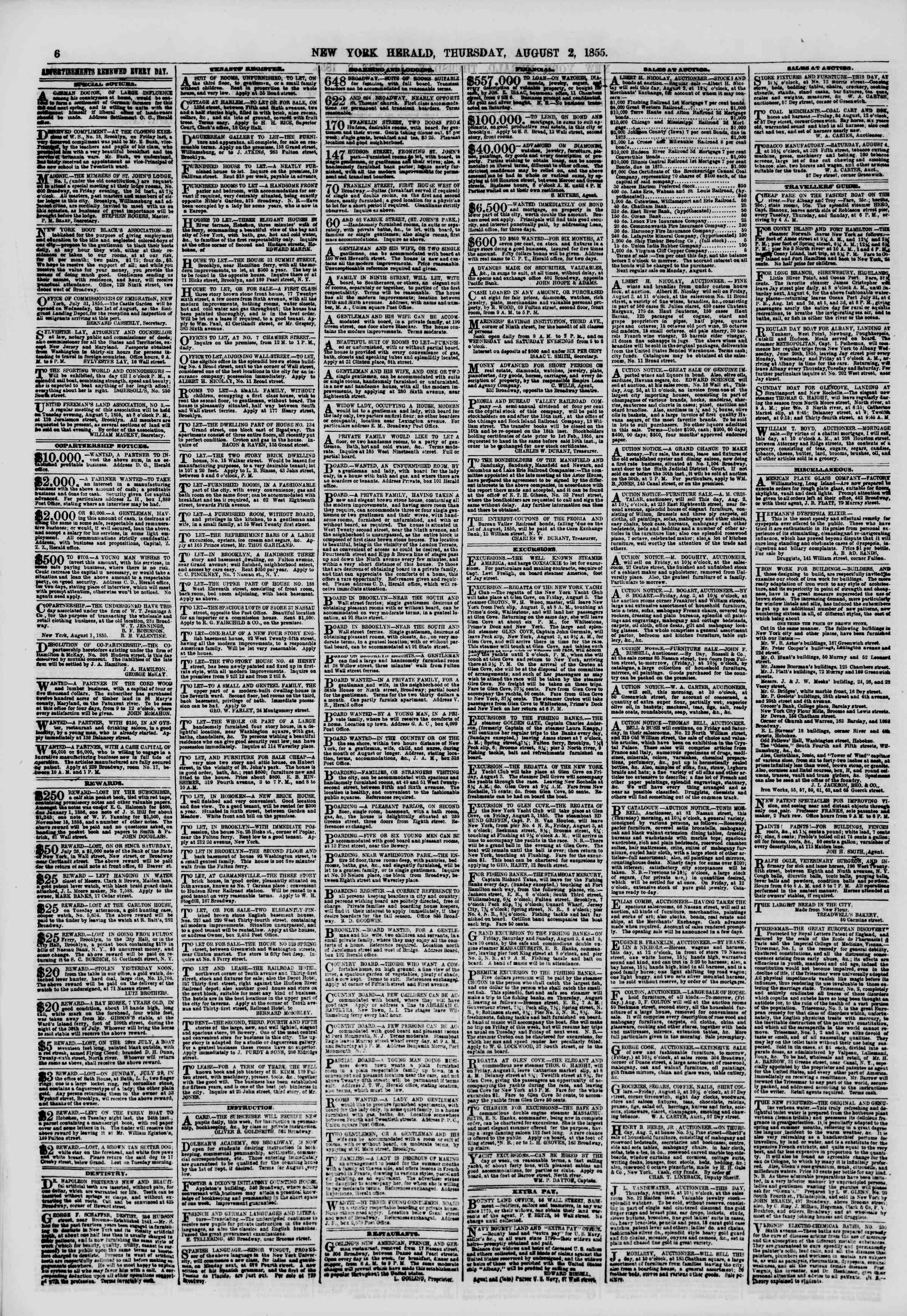 Newspaper of The New York Herald dated August 2, 1855 Page 6