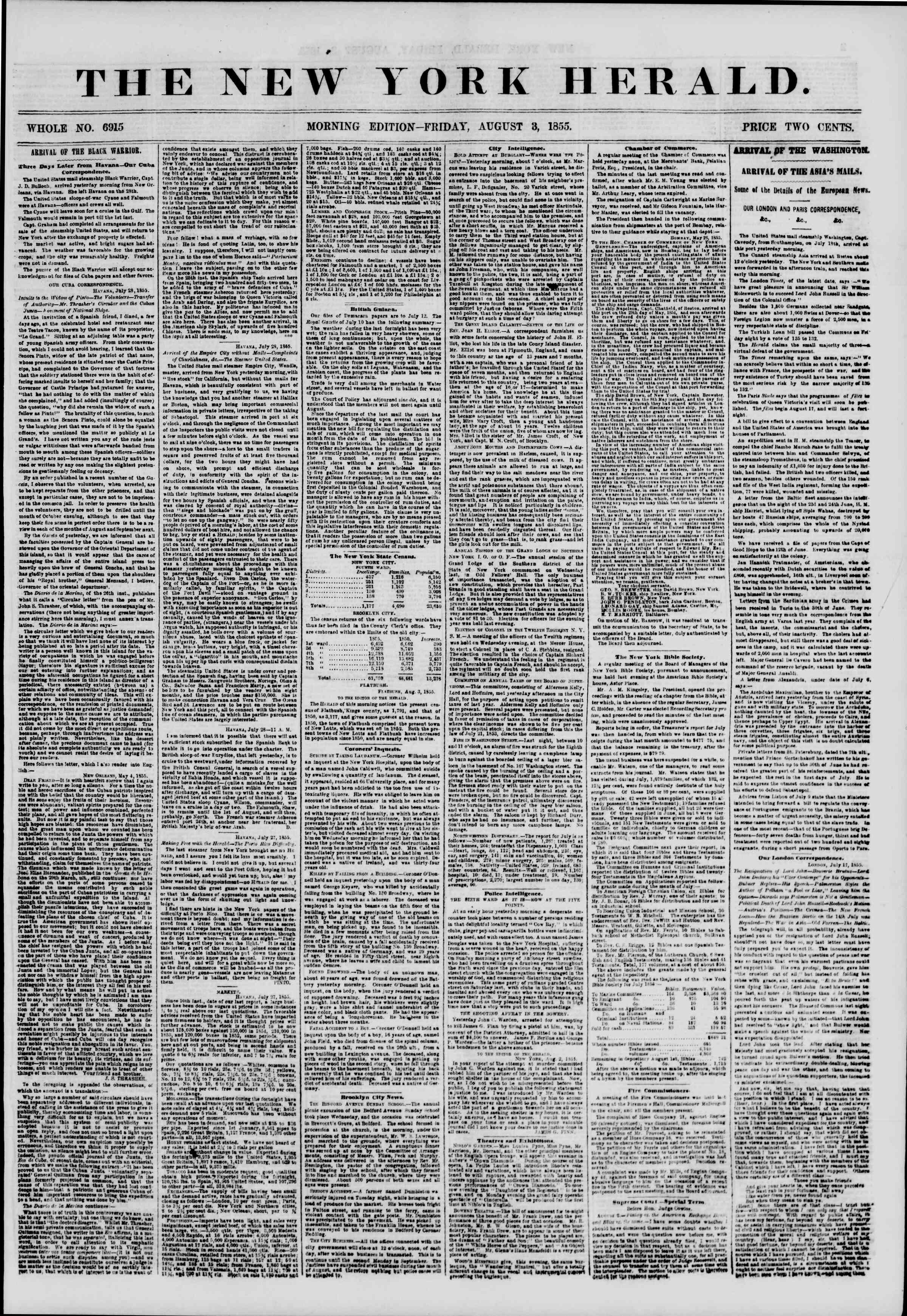 Newspaper of The New York Herald dated August 3, 1855 Page 1
