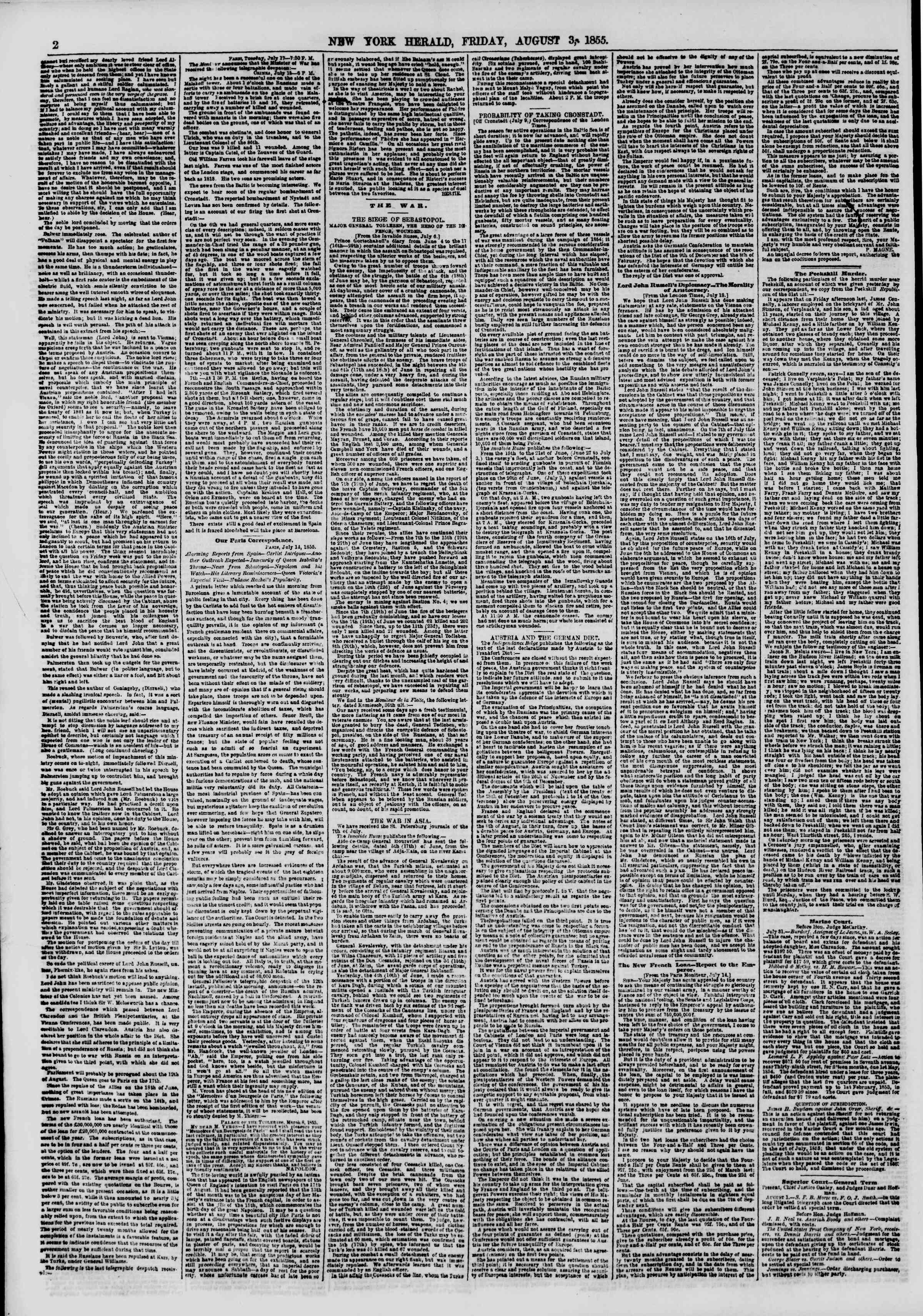 Newspaper of The New York Herald dated August 3, 1855 Page 2