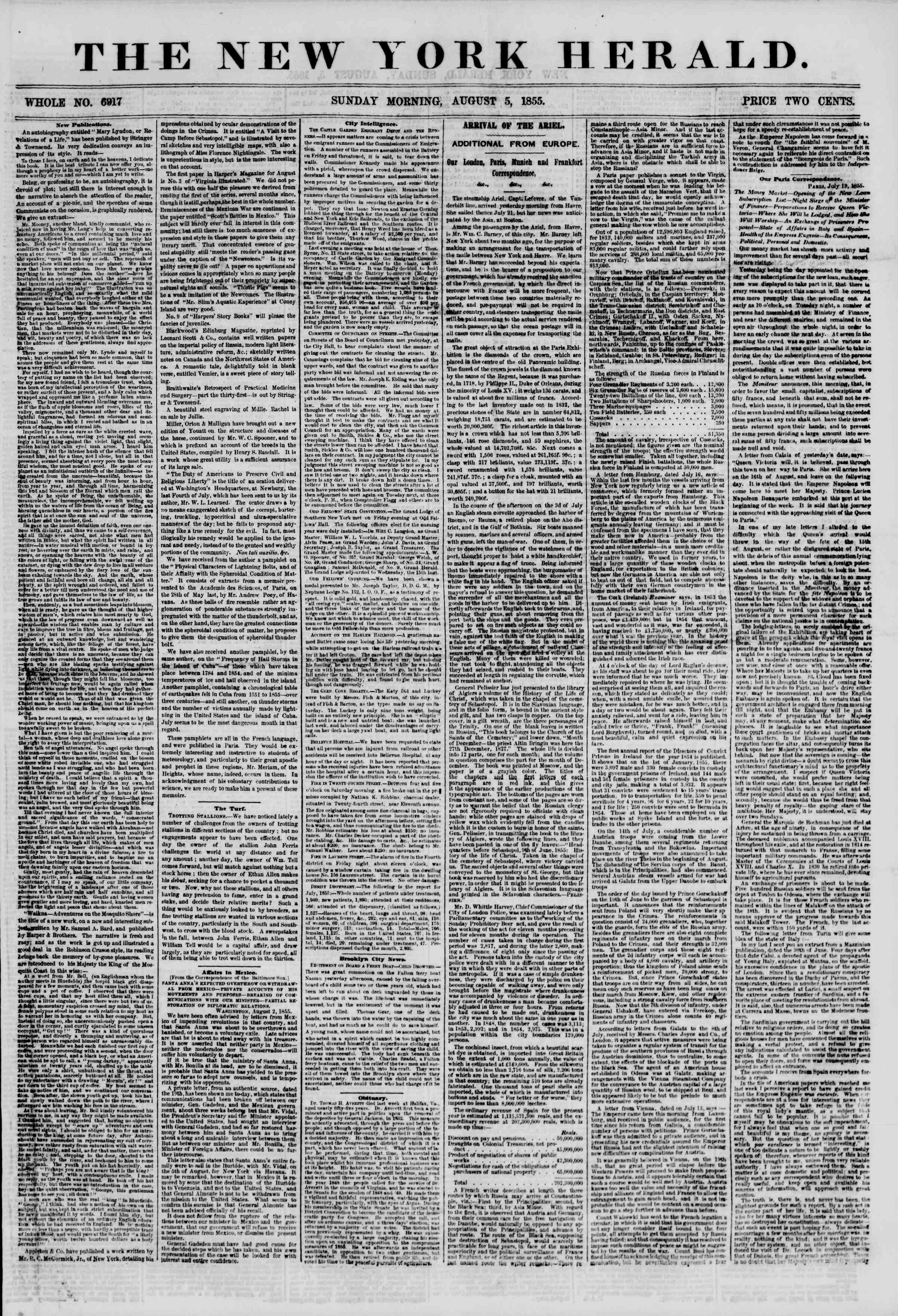Newspaper of The New York Herald dated August 5, 1855 Page 1