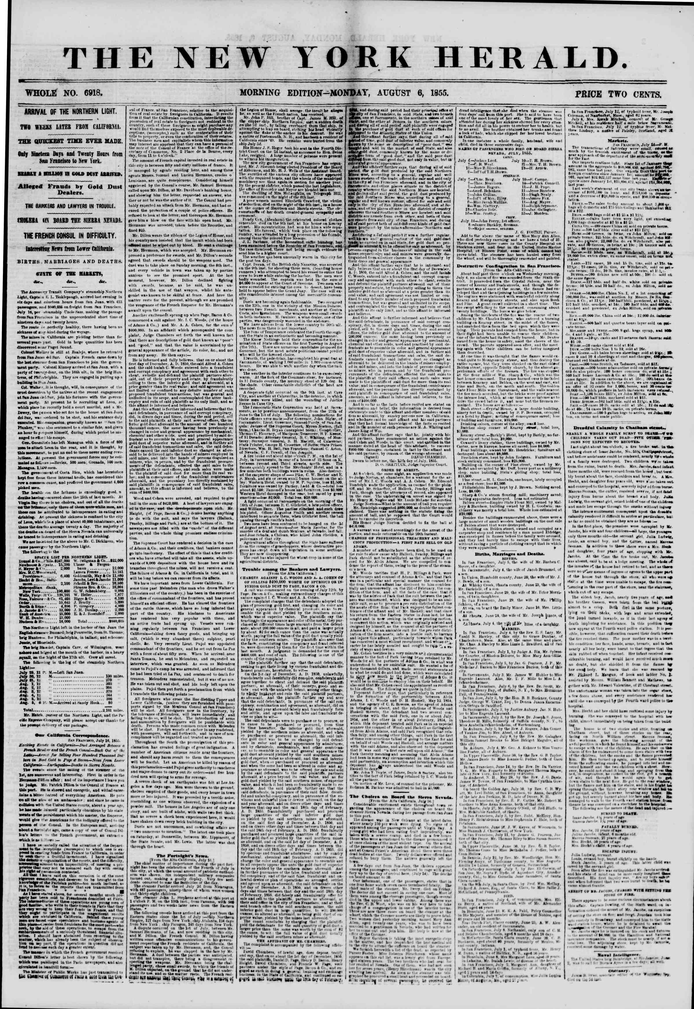 Newspaper of The New York Herald dated August 6, 1855 Page 1