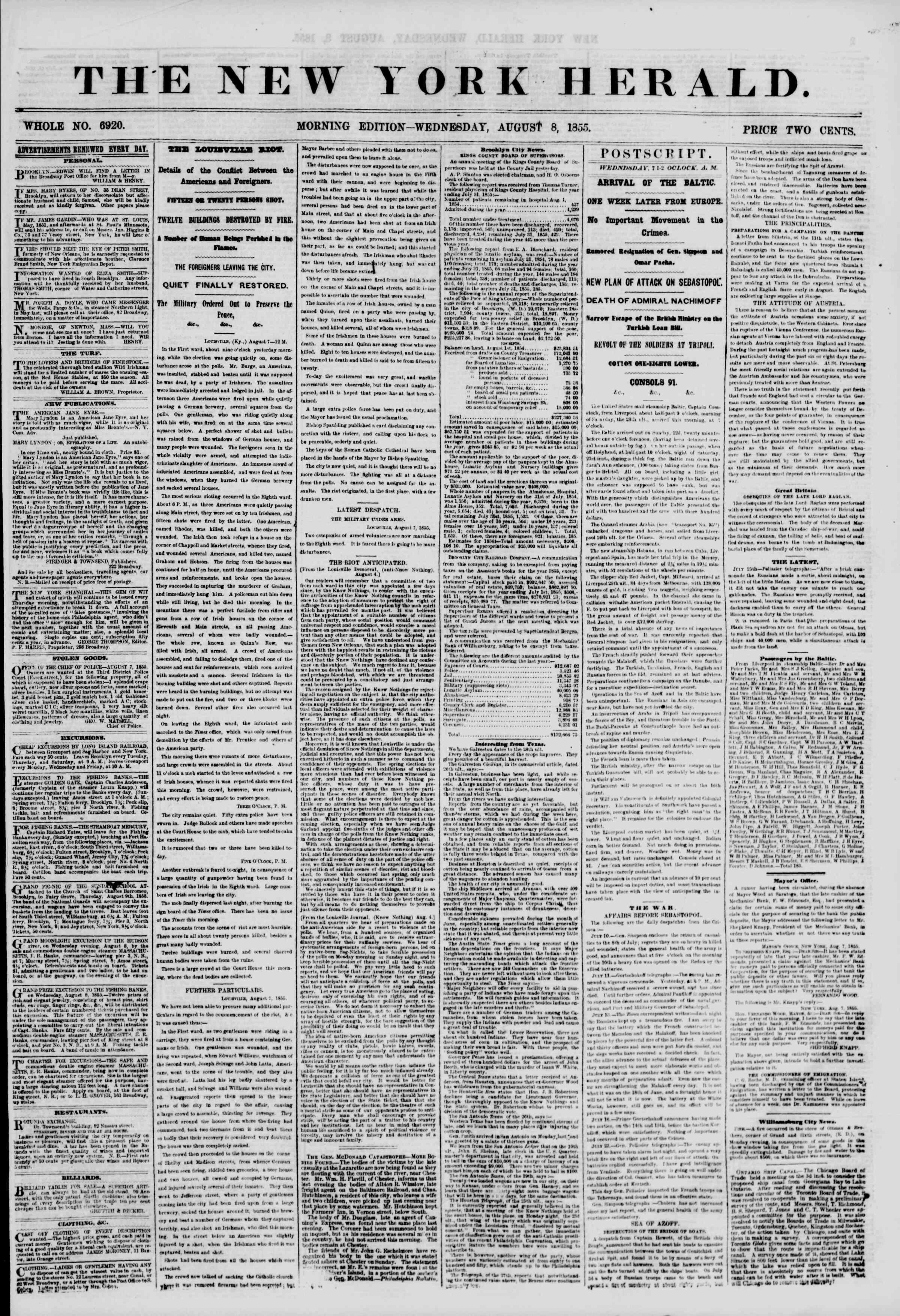 Newspaper of The New York Herald dated August 8, 1855 Page 1
