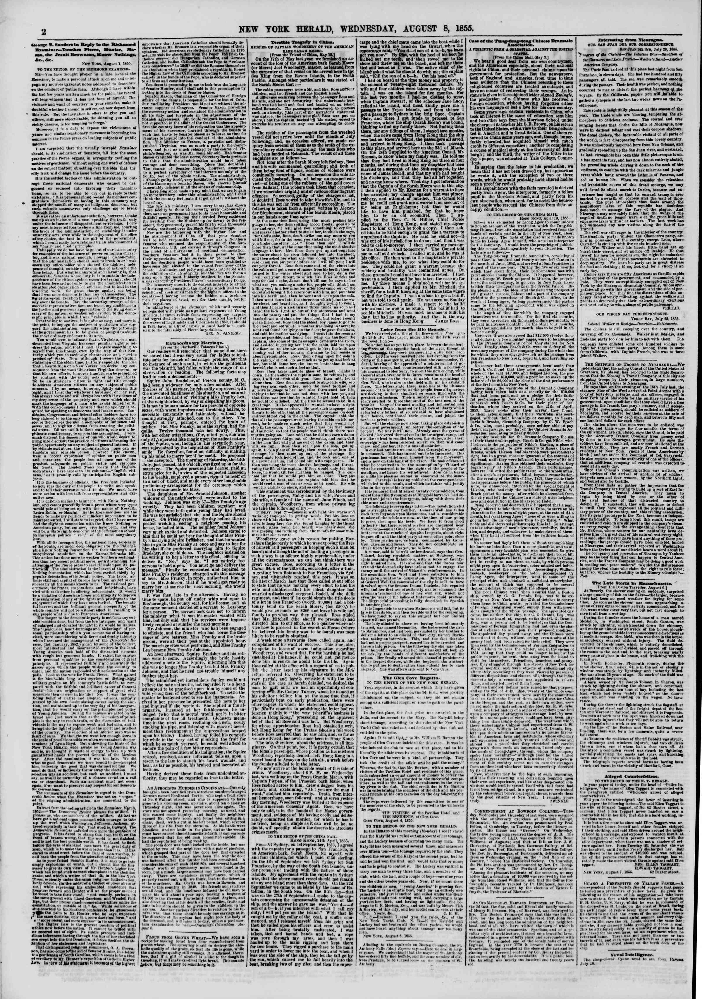 Newspaper of The New York Herald dated August 8, 1855 Page 2