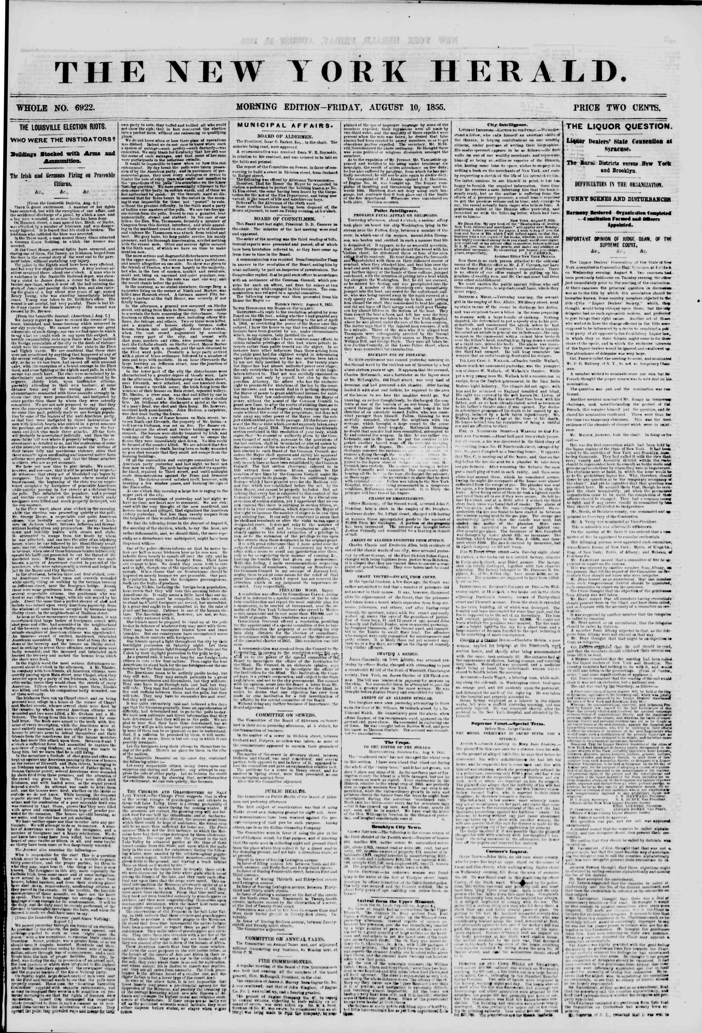 Newspaper of The New York Herald dated August 10, 1855 Page 1