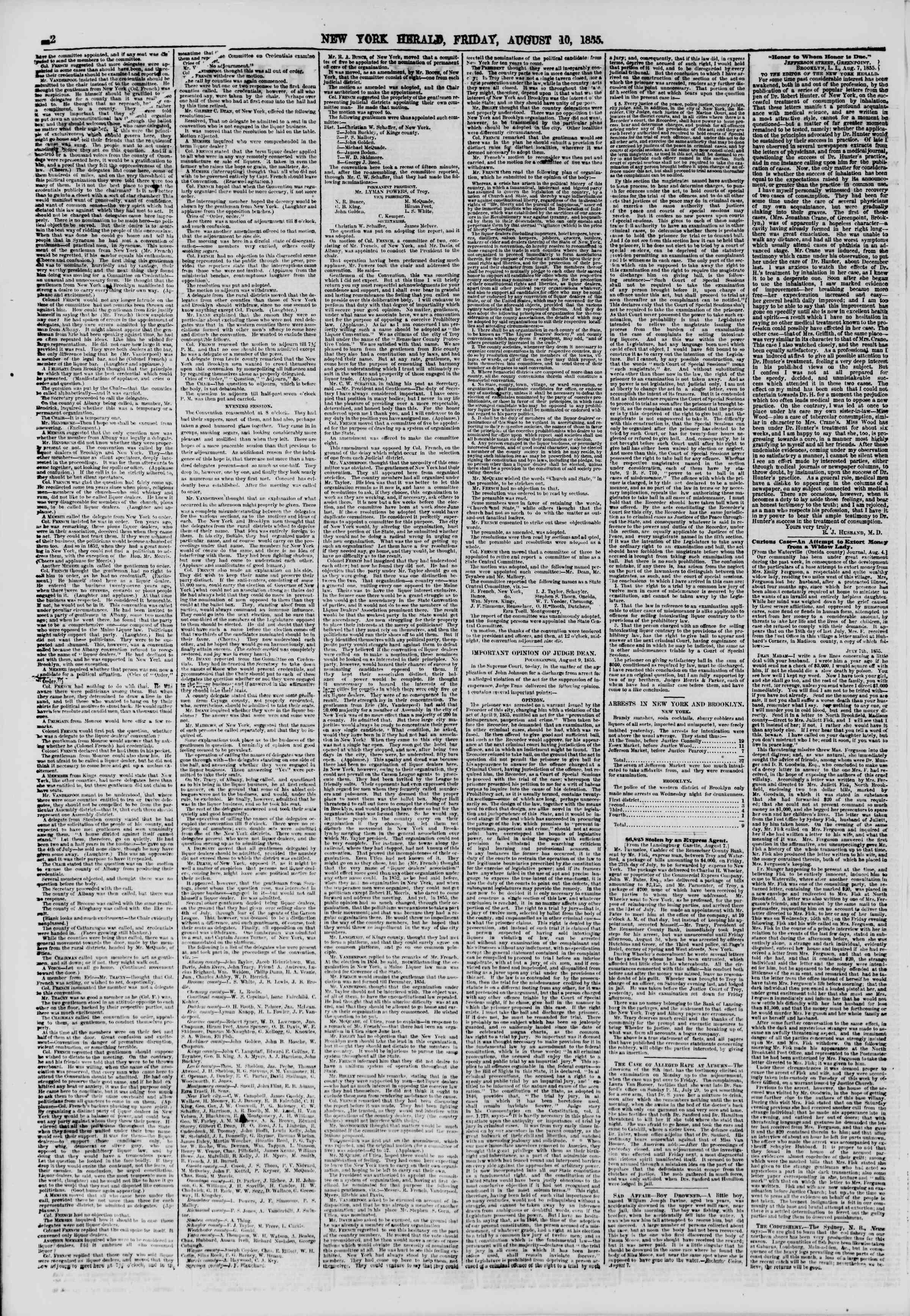 10 Ağustos 1855 tarihli The New York Herald Gazetesi Sayfa 2