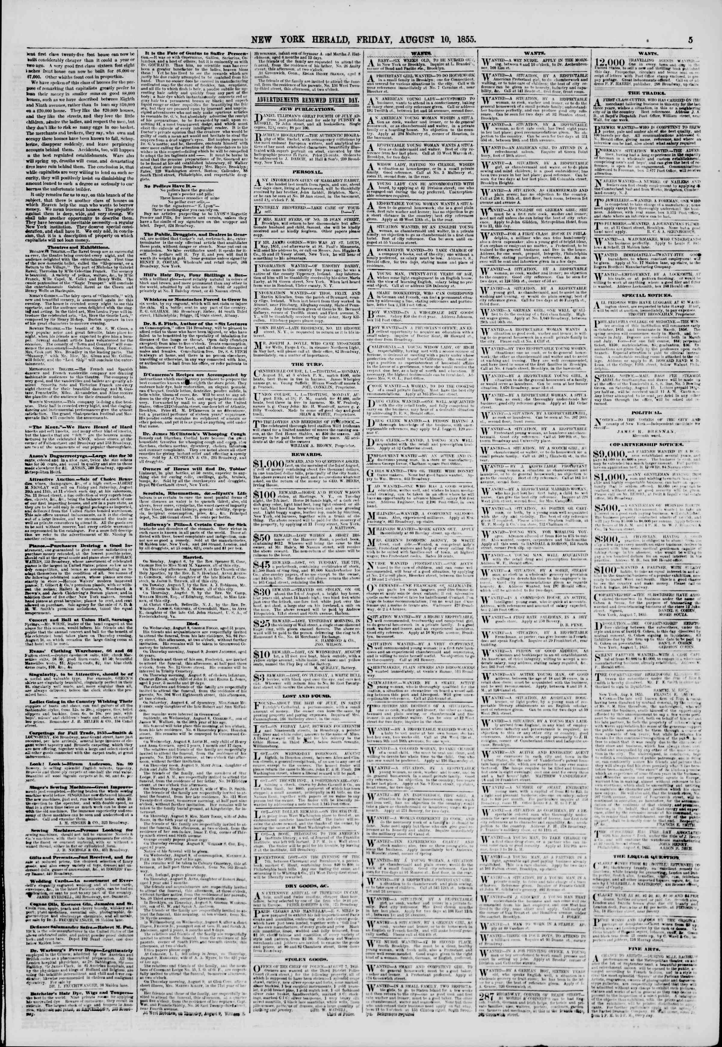Newspaper of The New York Herald dated August 10, 1855 Page 5