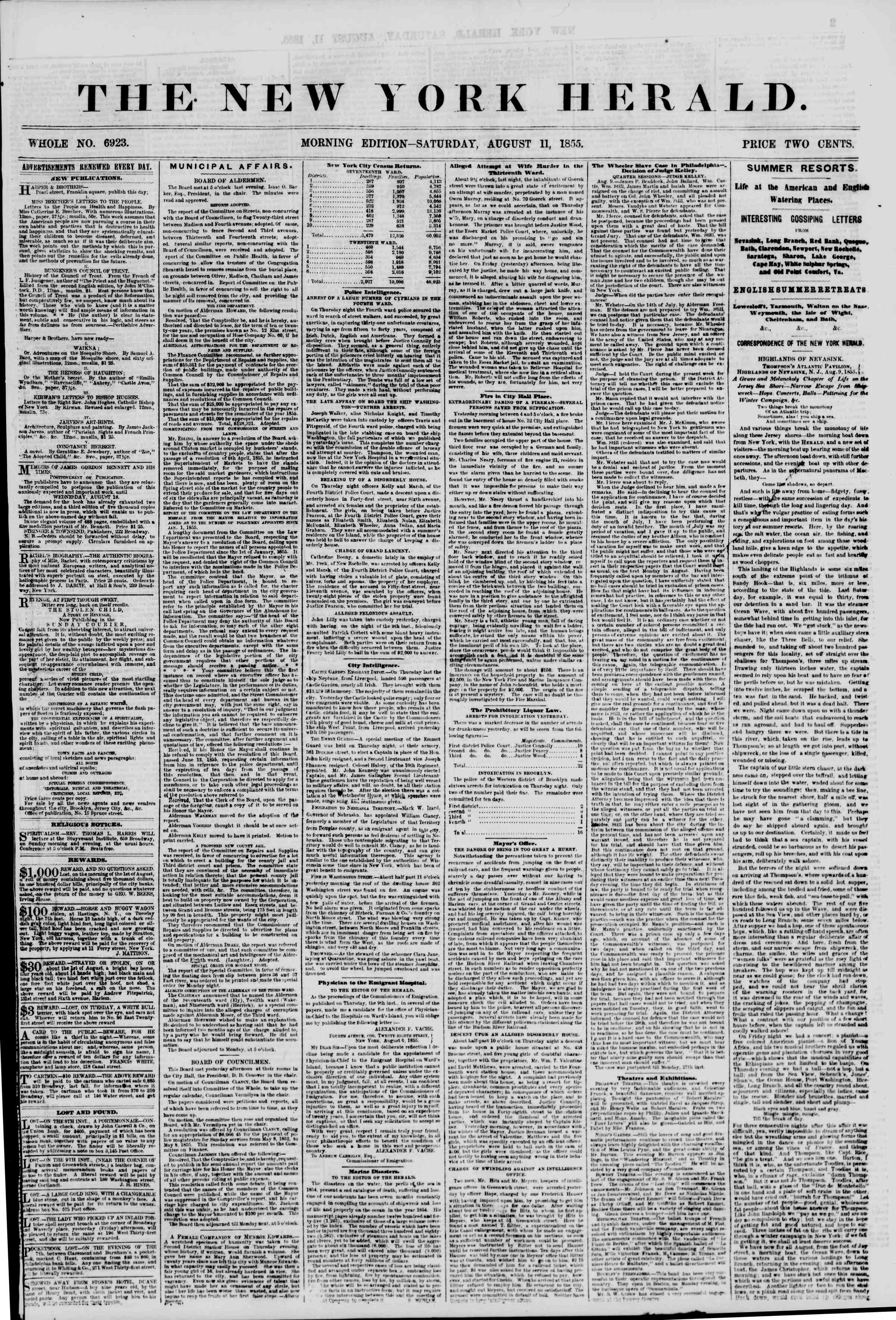 Newspaper of The New York Herald dated August 11, 1855 Page 1