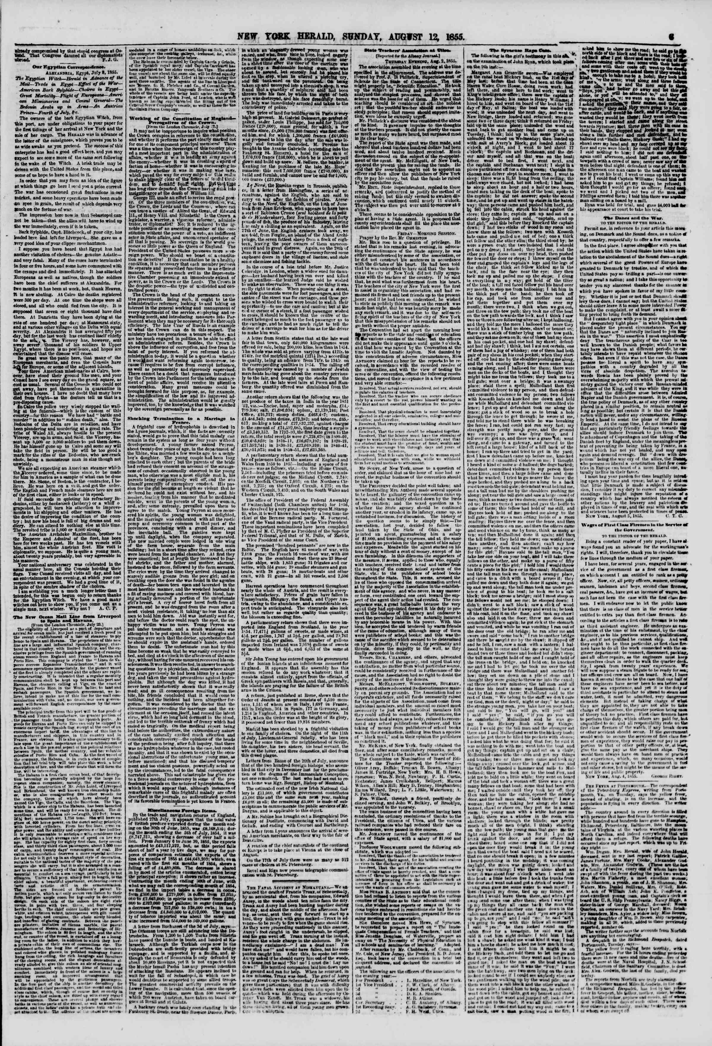 Newspaper of The New York Herald dated August 12, 1855 Page 3