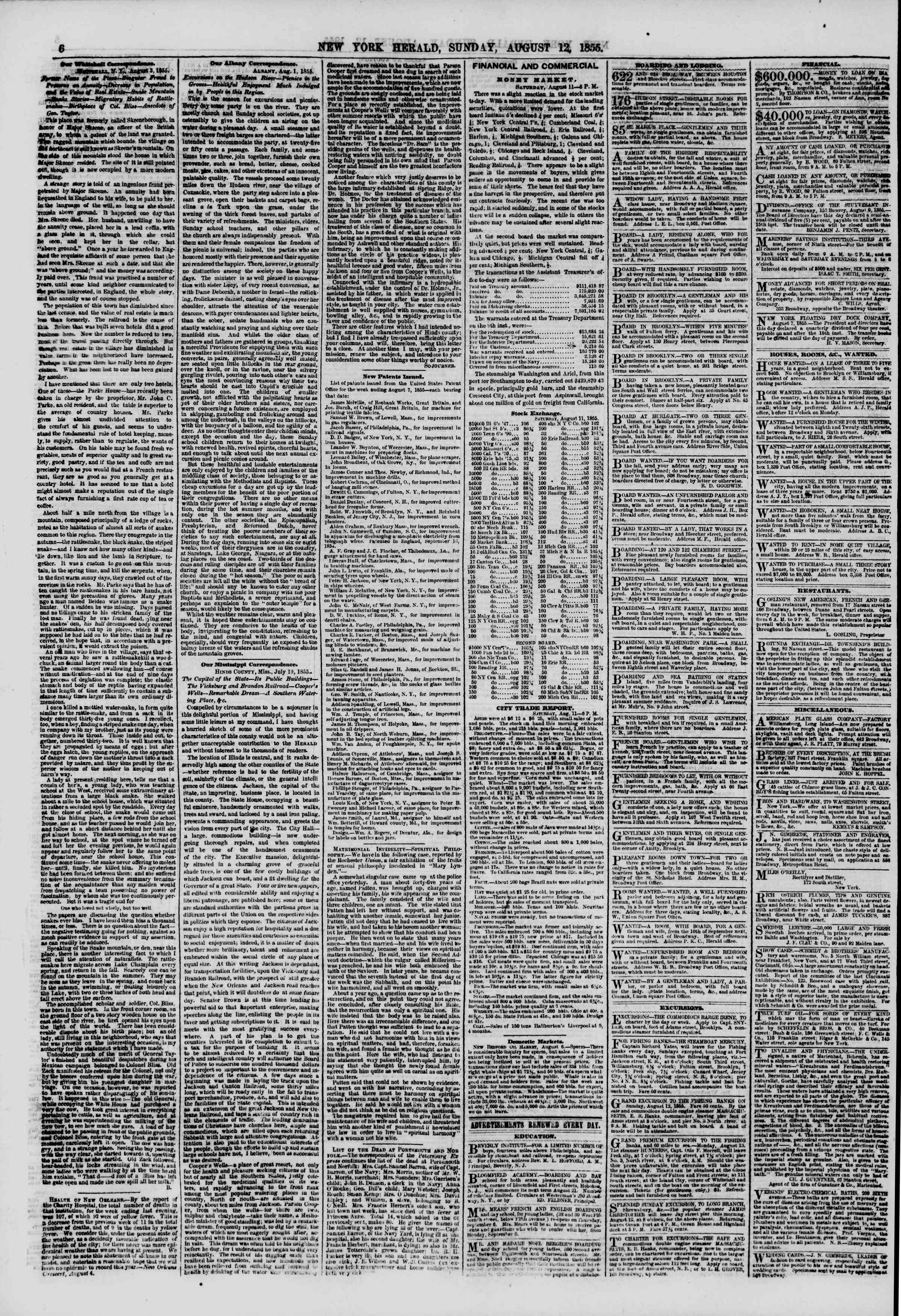 Newspaper of The New York Herald dated August 12, 1855 Page 6