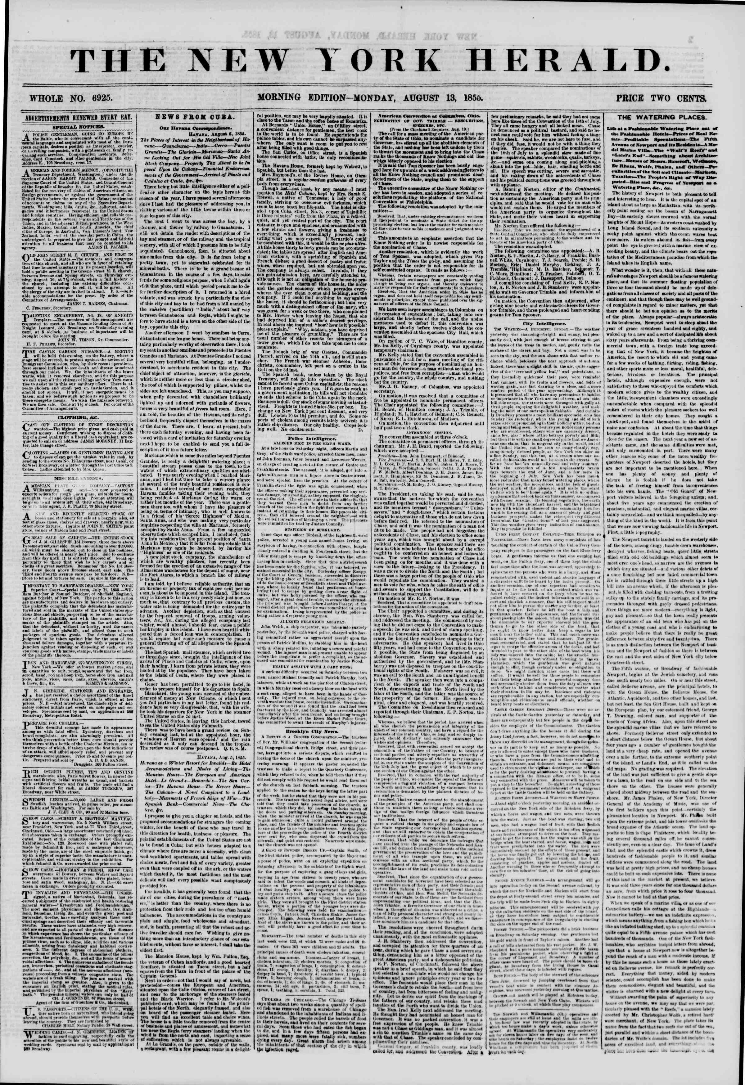 Newspaper of The New York Herald dated August 13, 1855 Page 1