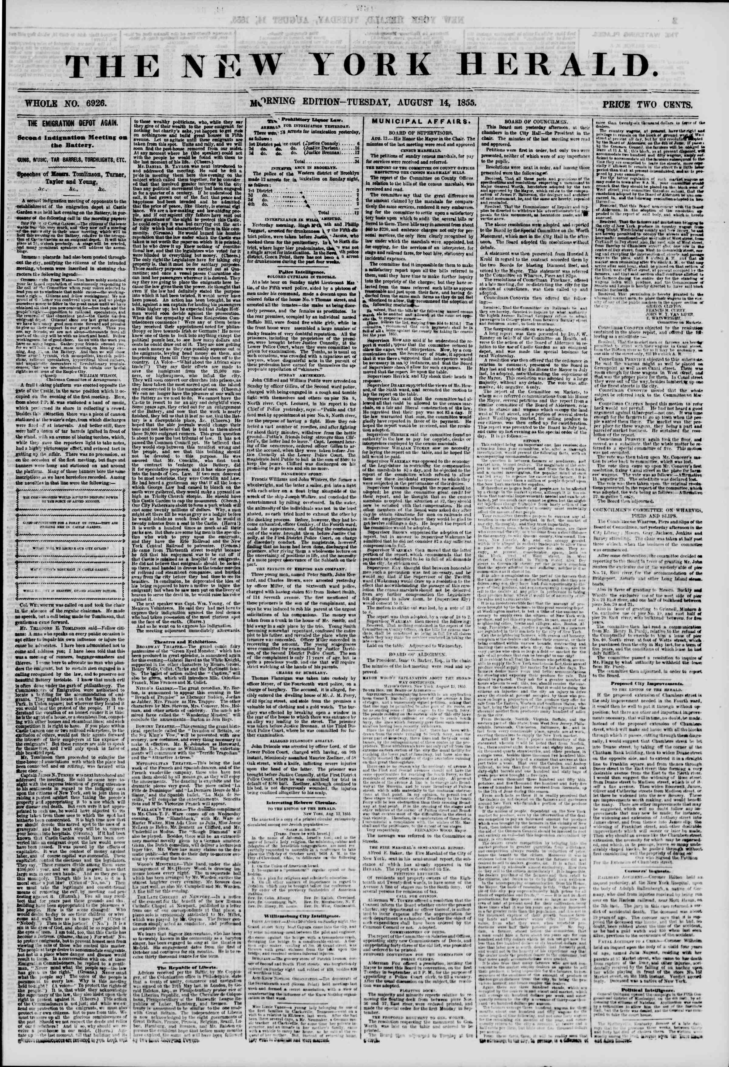 Newspaper of The New York Herald dated August 14, 1855 Page 1