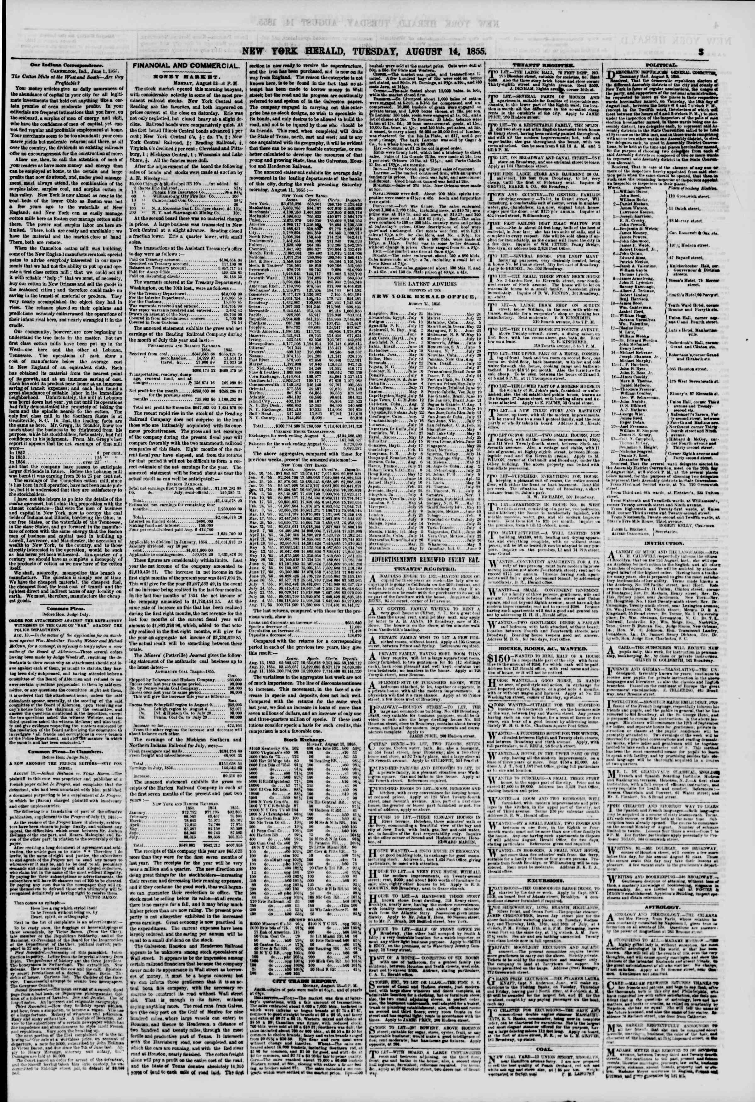 Newspaper of The New York Herald dated August 14, 1855 Page 3