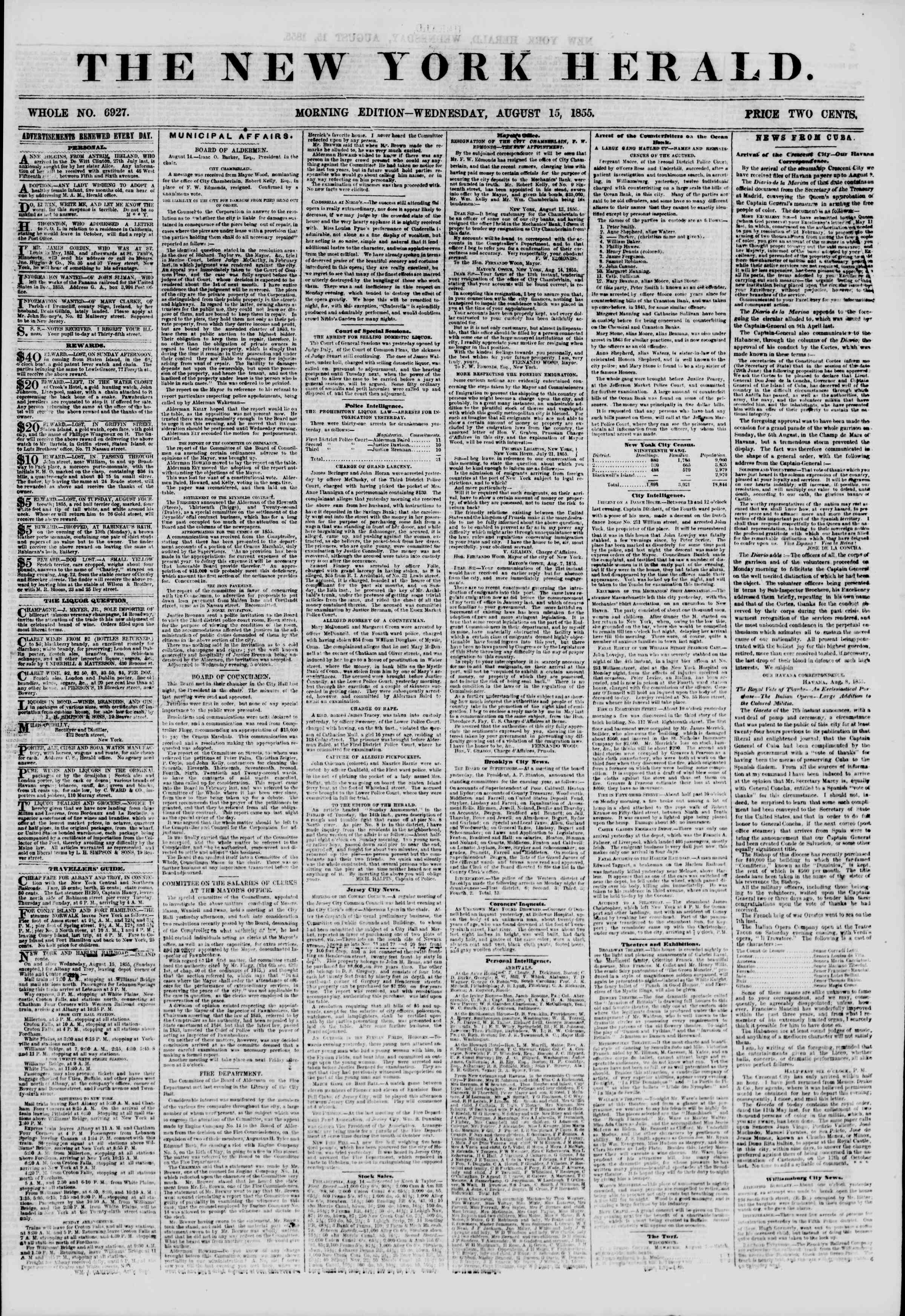 Newspaper of The New York Herald dated August 15, 1855 Page 1