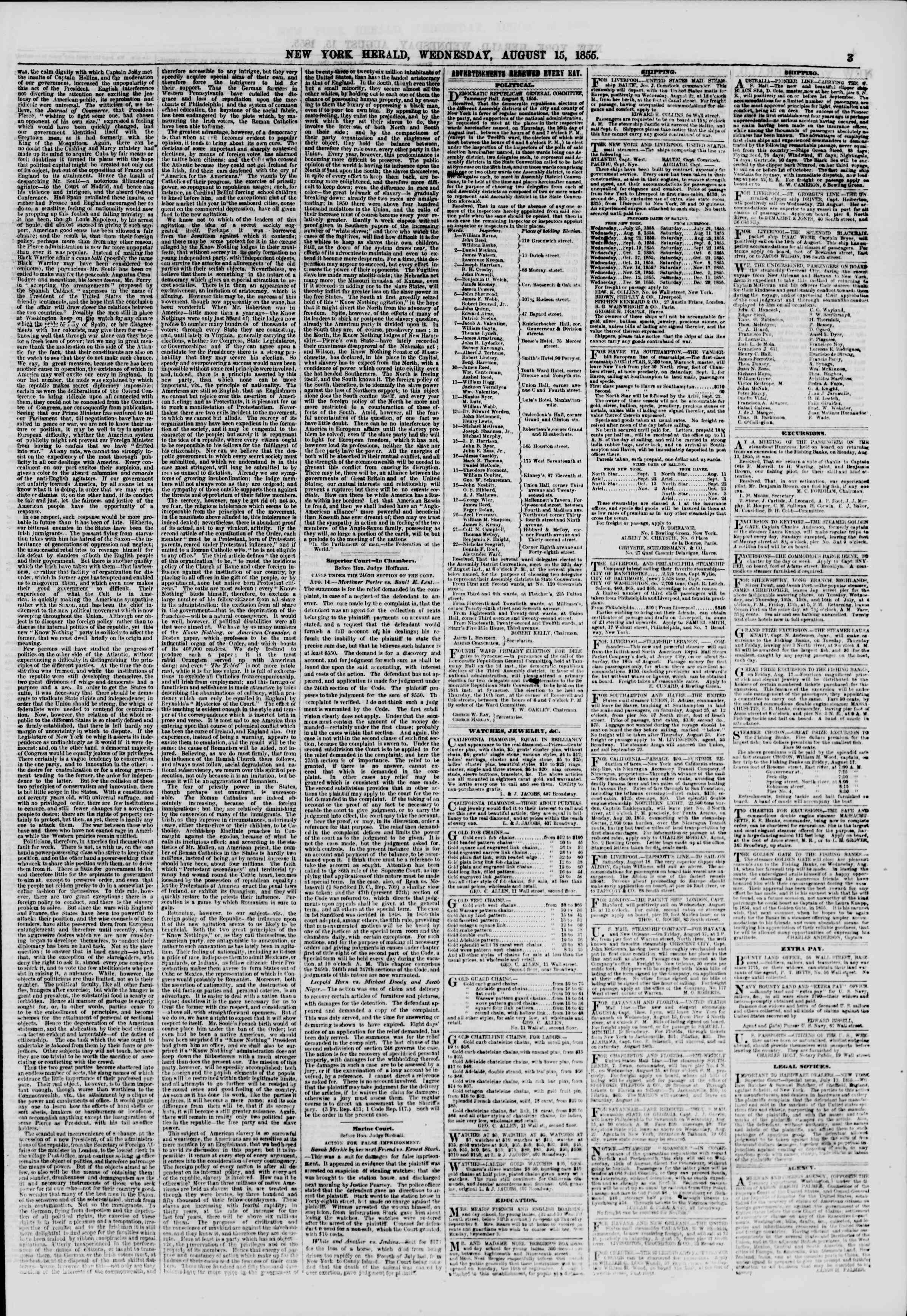 Newspaper of The New York Herald dated August 15, 1855 Page 3