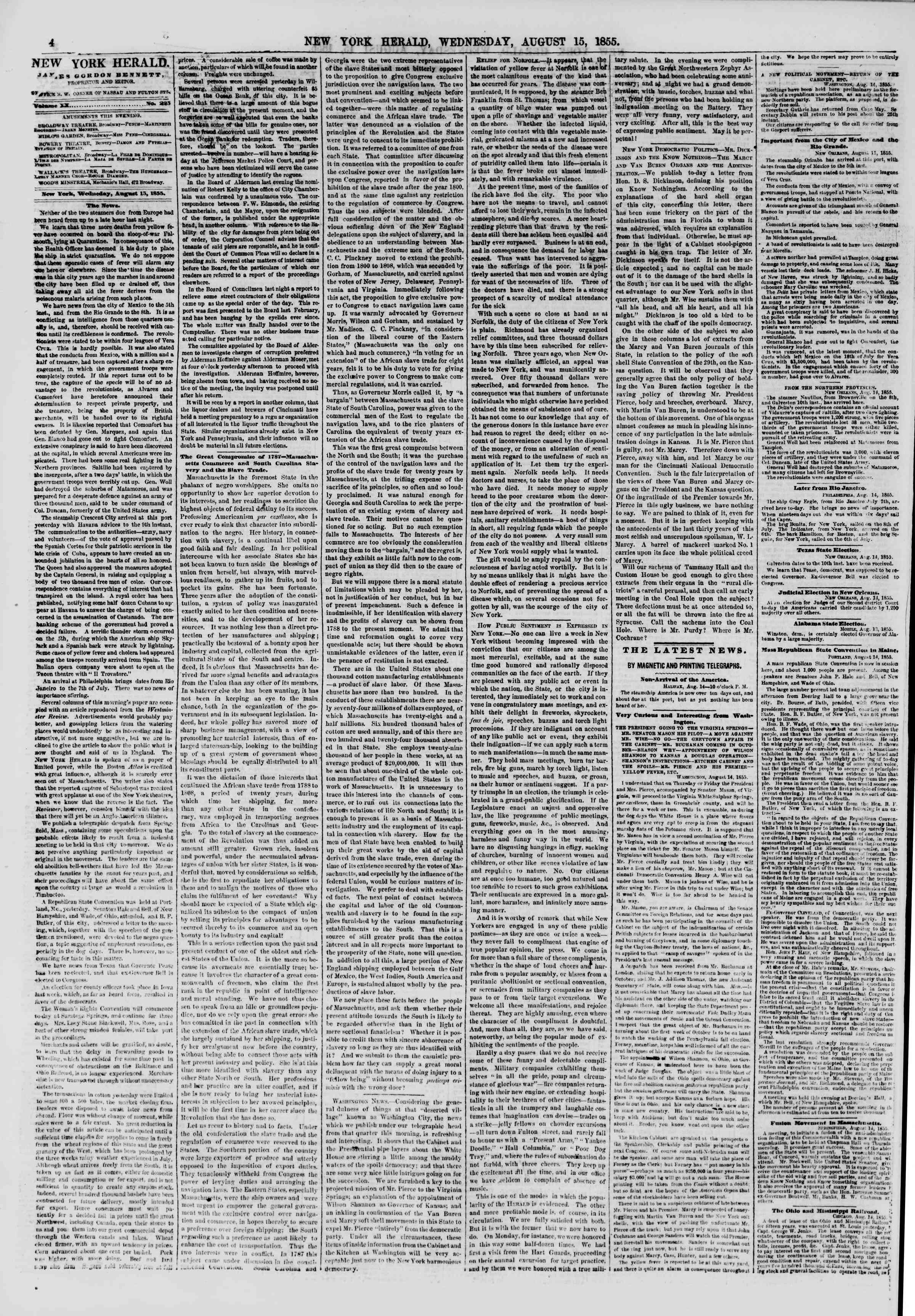Newspaper of The New York Herald dated August 15, 1855 Page 4