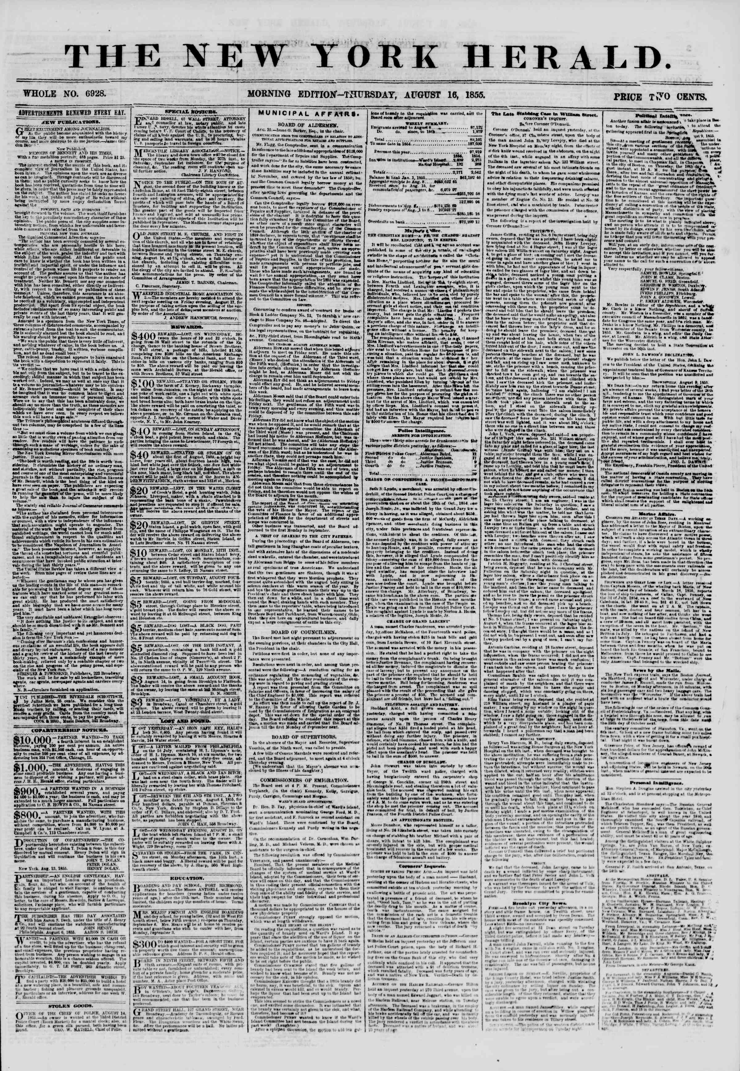 Newspaper of The New York Herald dated August 16, 1855 Page 1