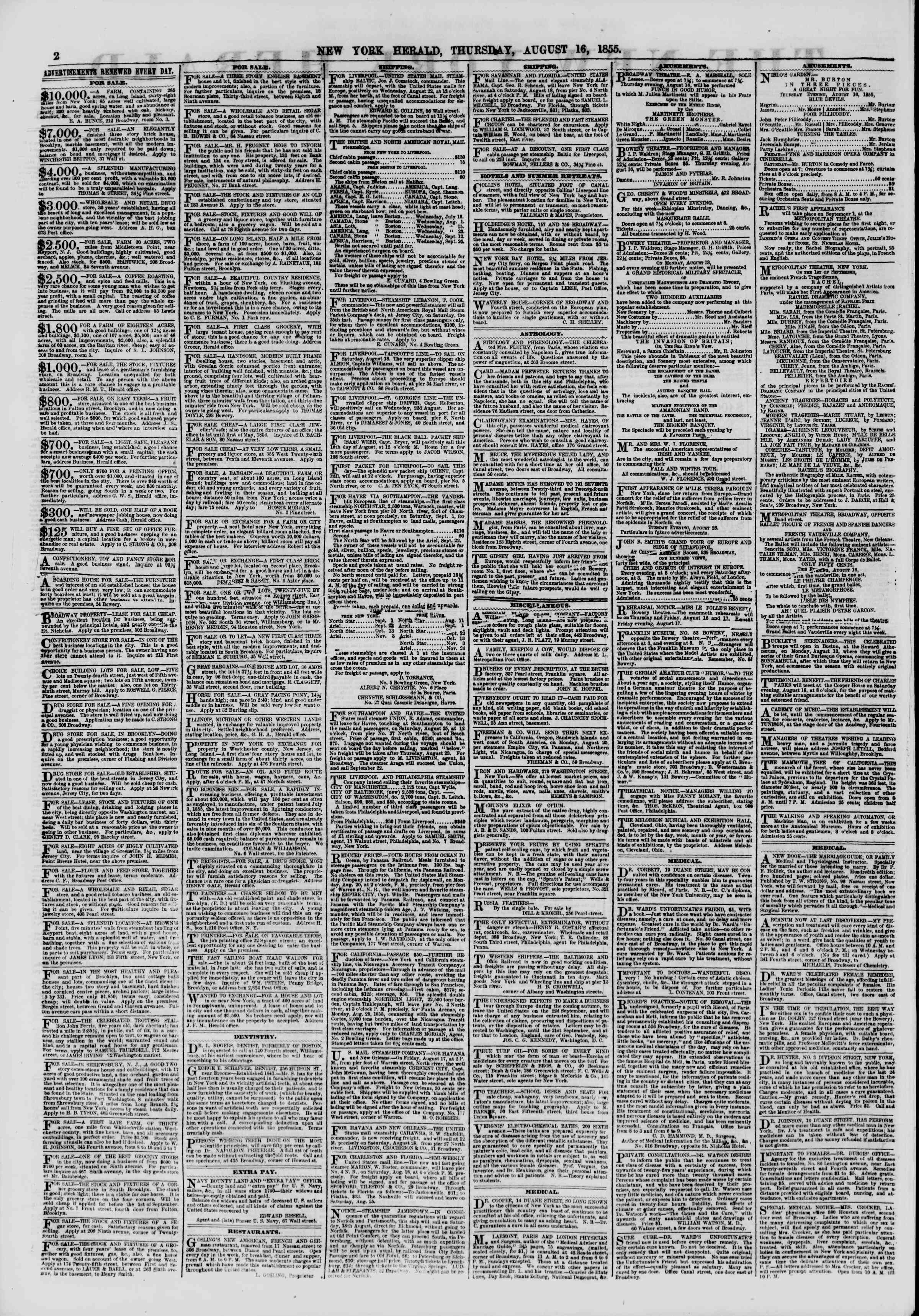 Newspaper of The New York Herald dated August 16, 1855 Page 2