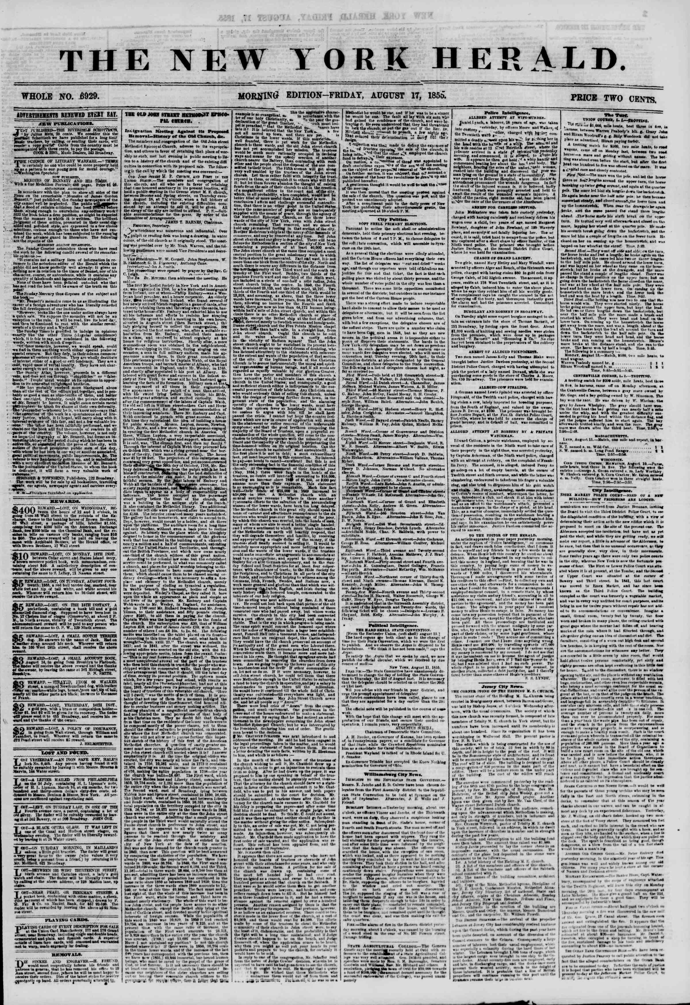Newspaper of The New York Herald dated August 17, 1855 Page 1