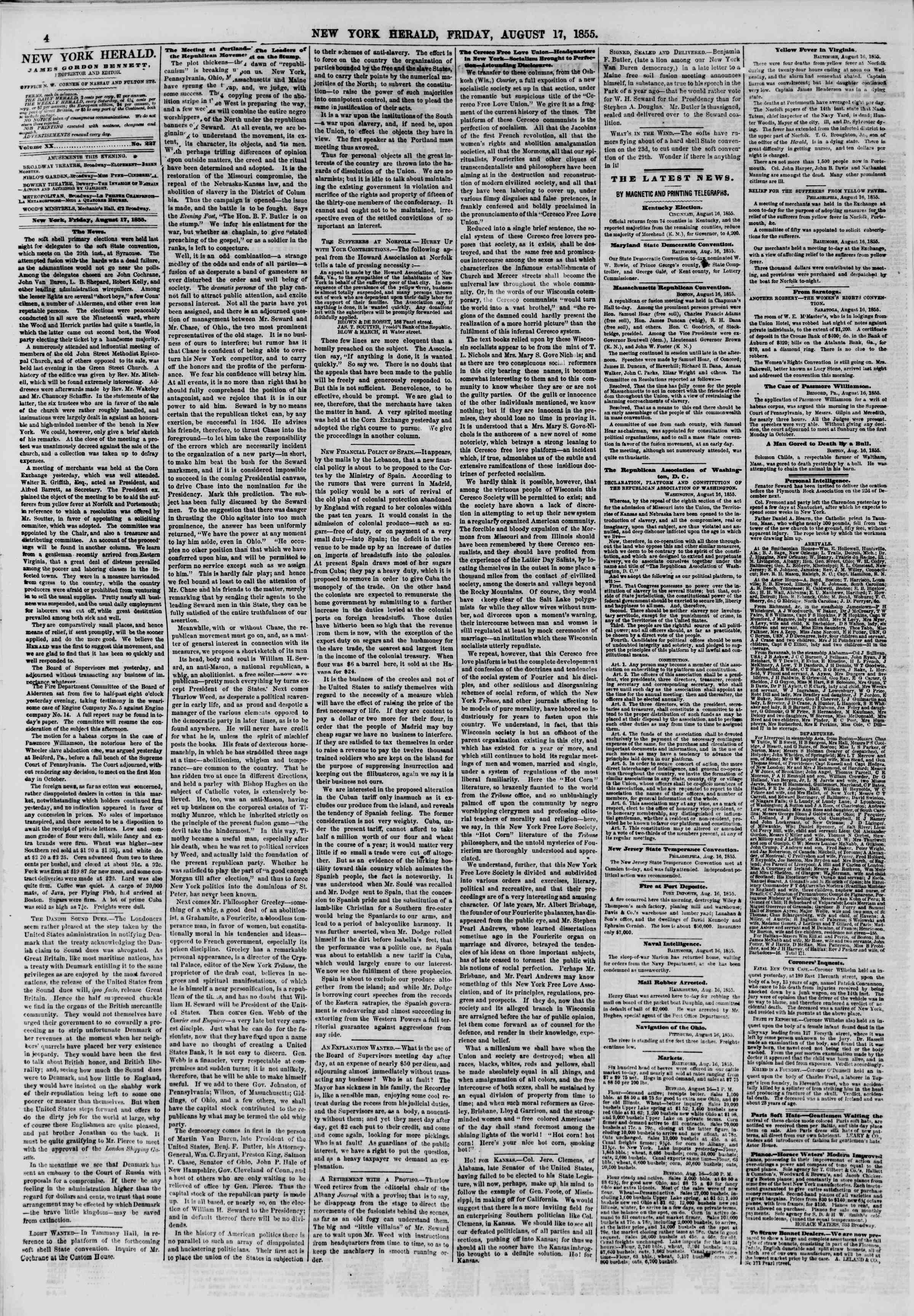 Newspaper of The New York Herald dated August 17, 1855 Page 4