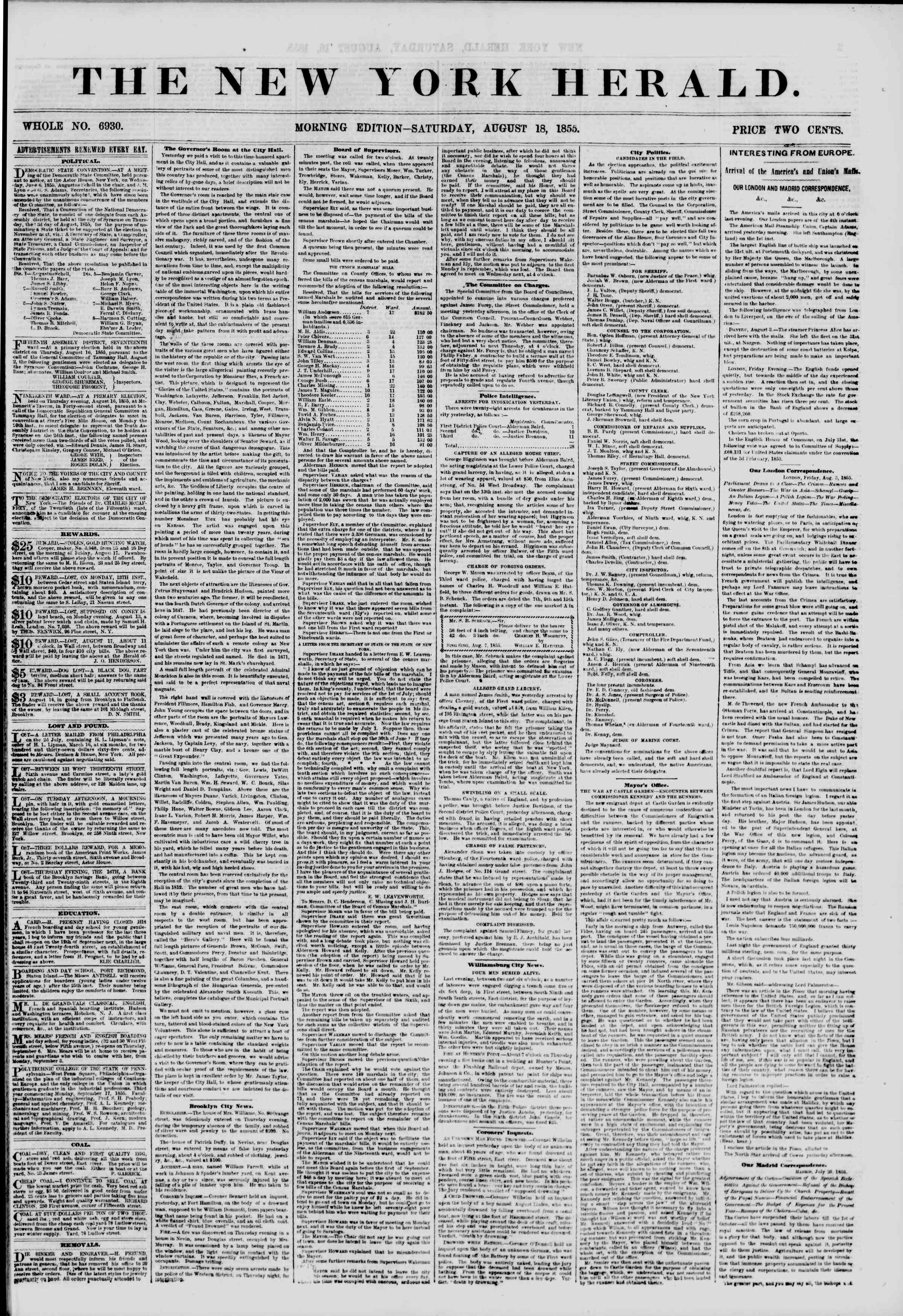 Newspaper of The New York Herald dated August 18, 1855 Page 1