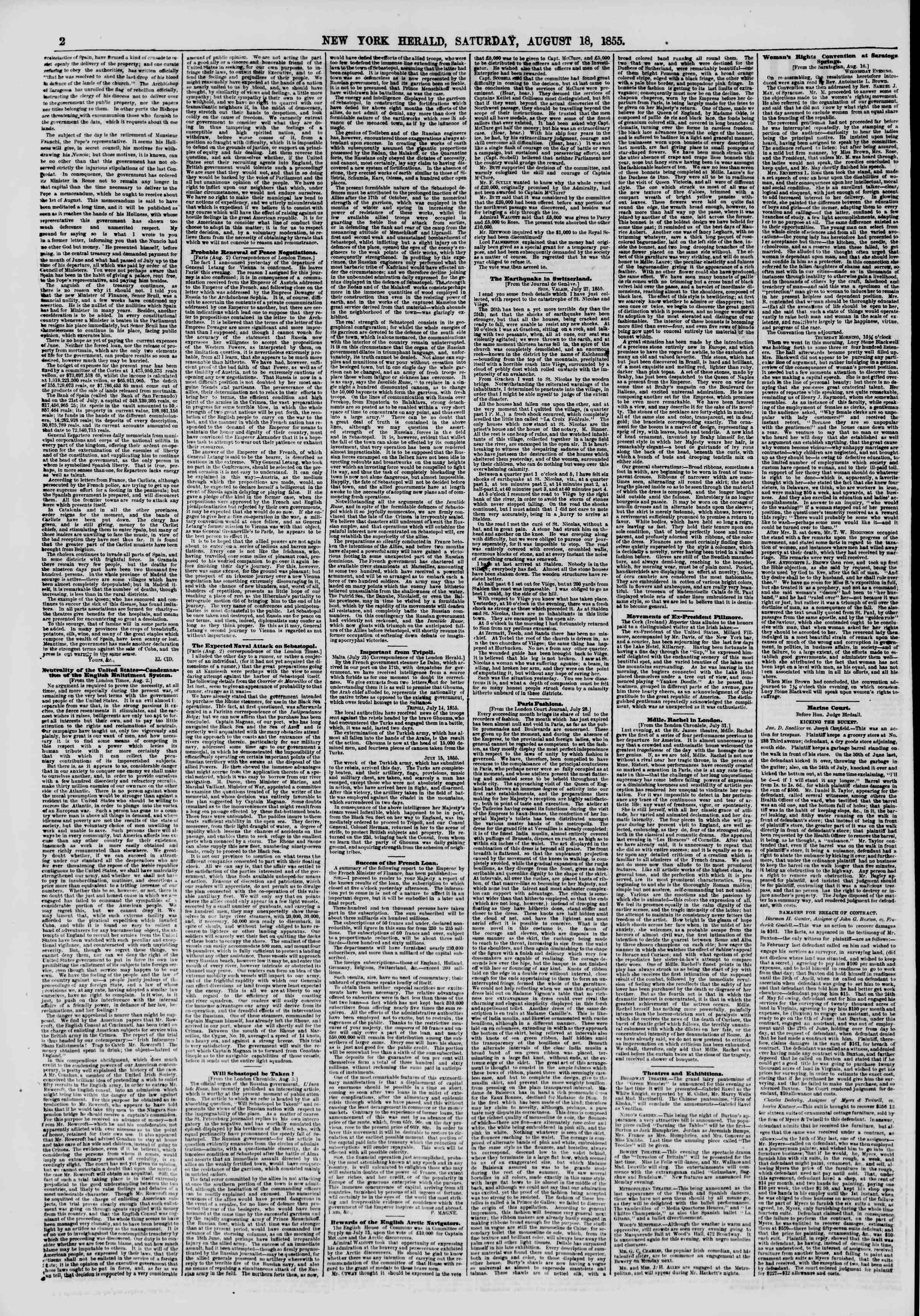 Newspaper of The New York Herald dated August 18, 1855 Page 2
