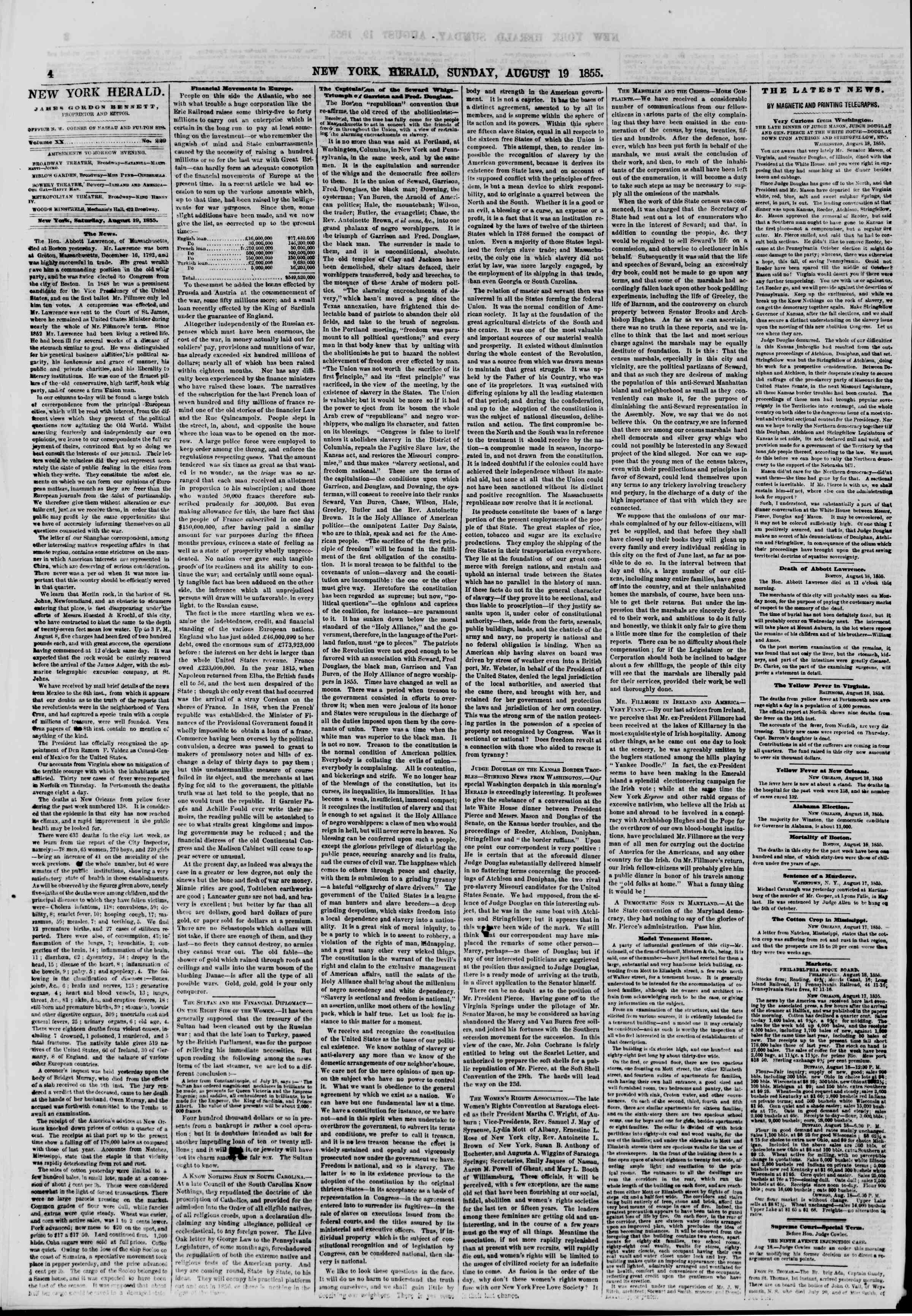 Newspaper of The New York Herald dated August 19, 1855 Page 4
