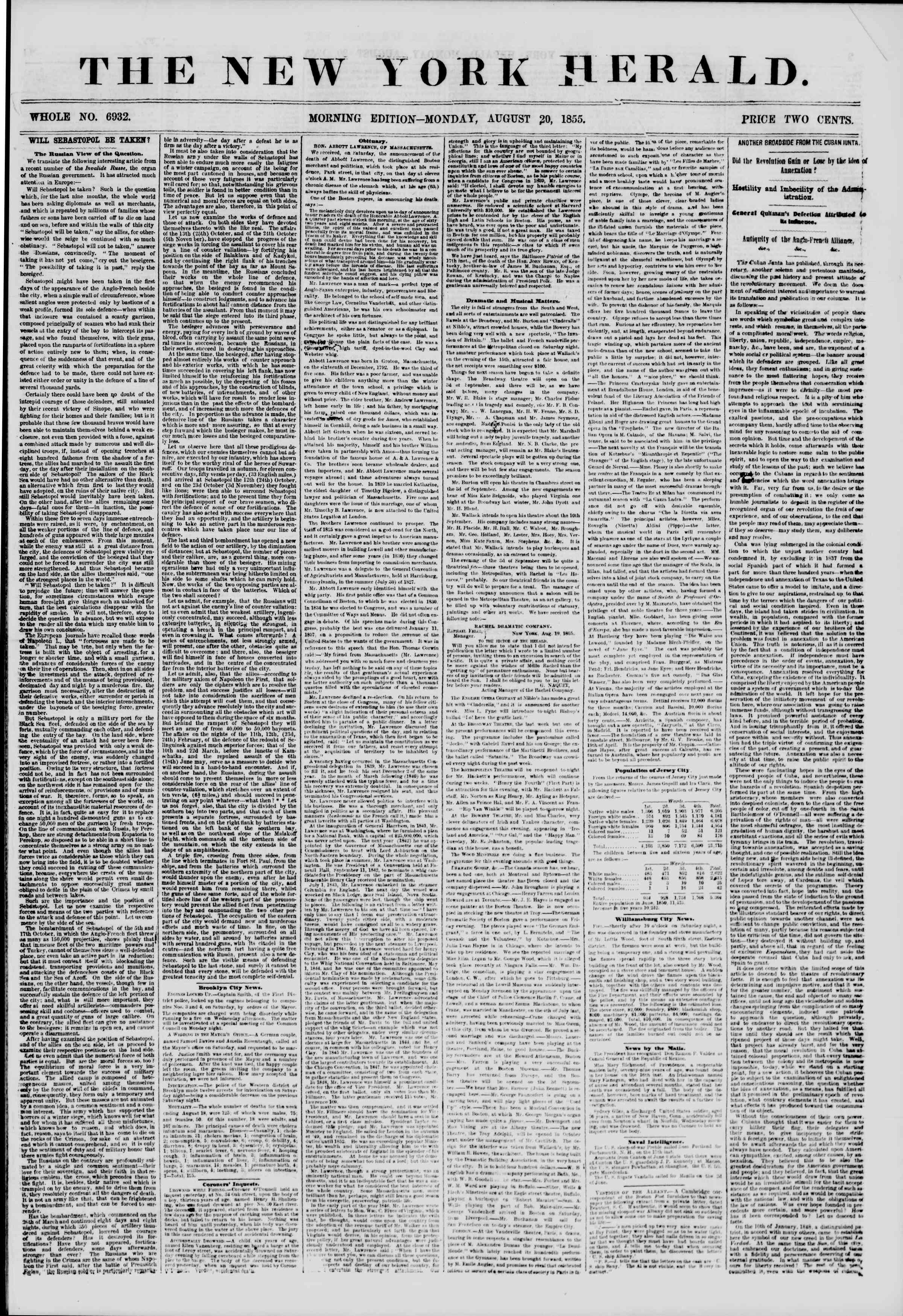Newspaper of The New York Herald dated August 20, 1855 Page 1