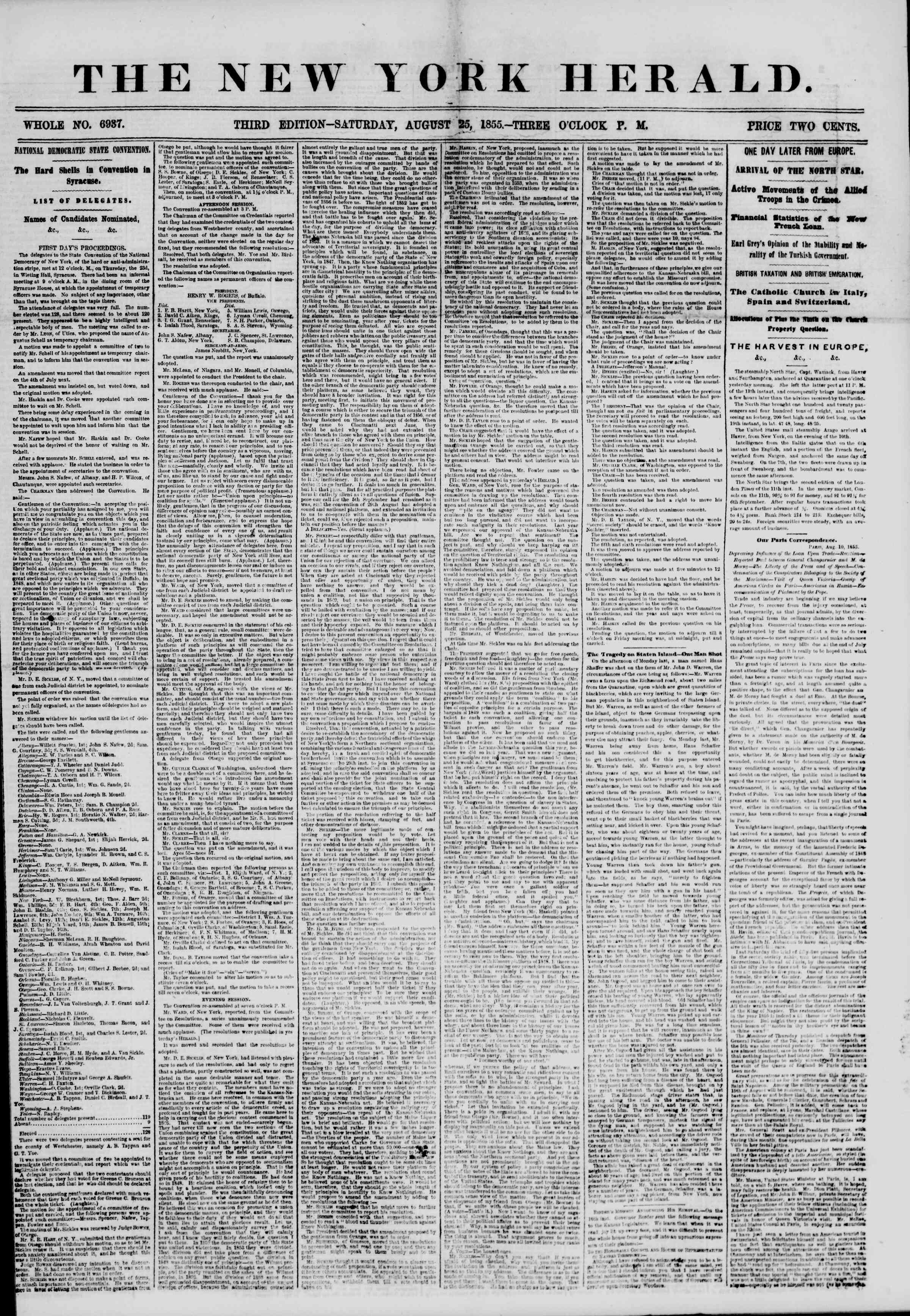 Newspaper of The New York Herald dated August 25, 1855 Page 1