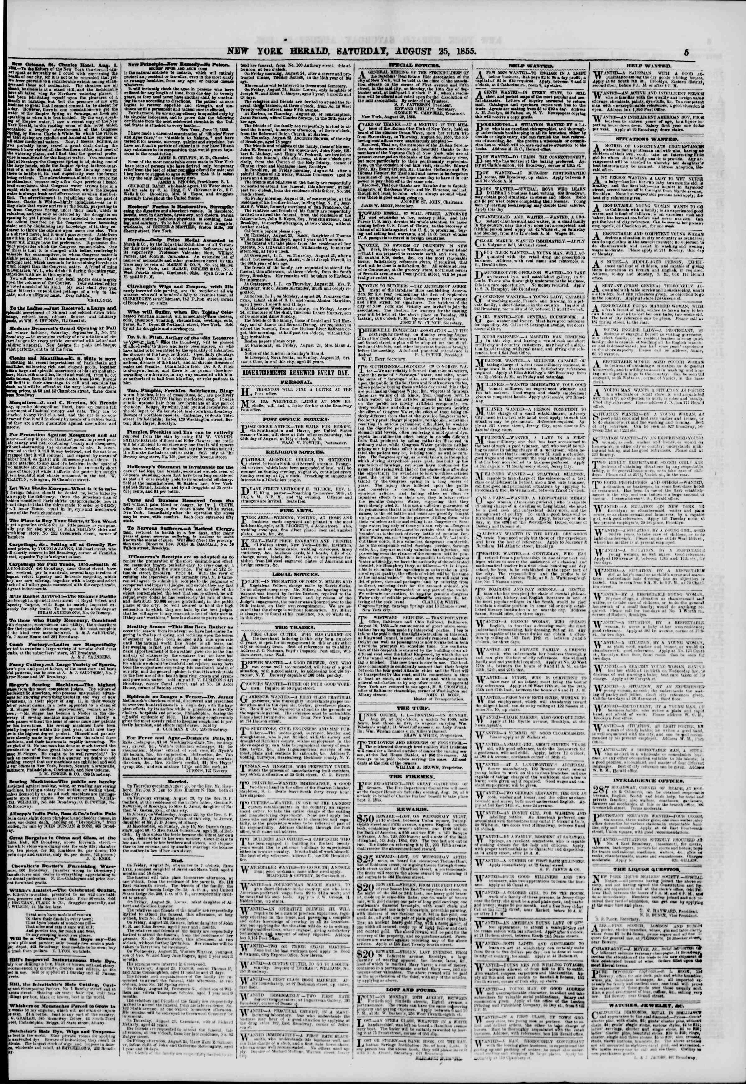Newspaper of The New York Herald dated August 25, 1855 Page 5