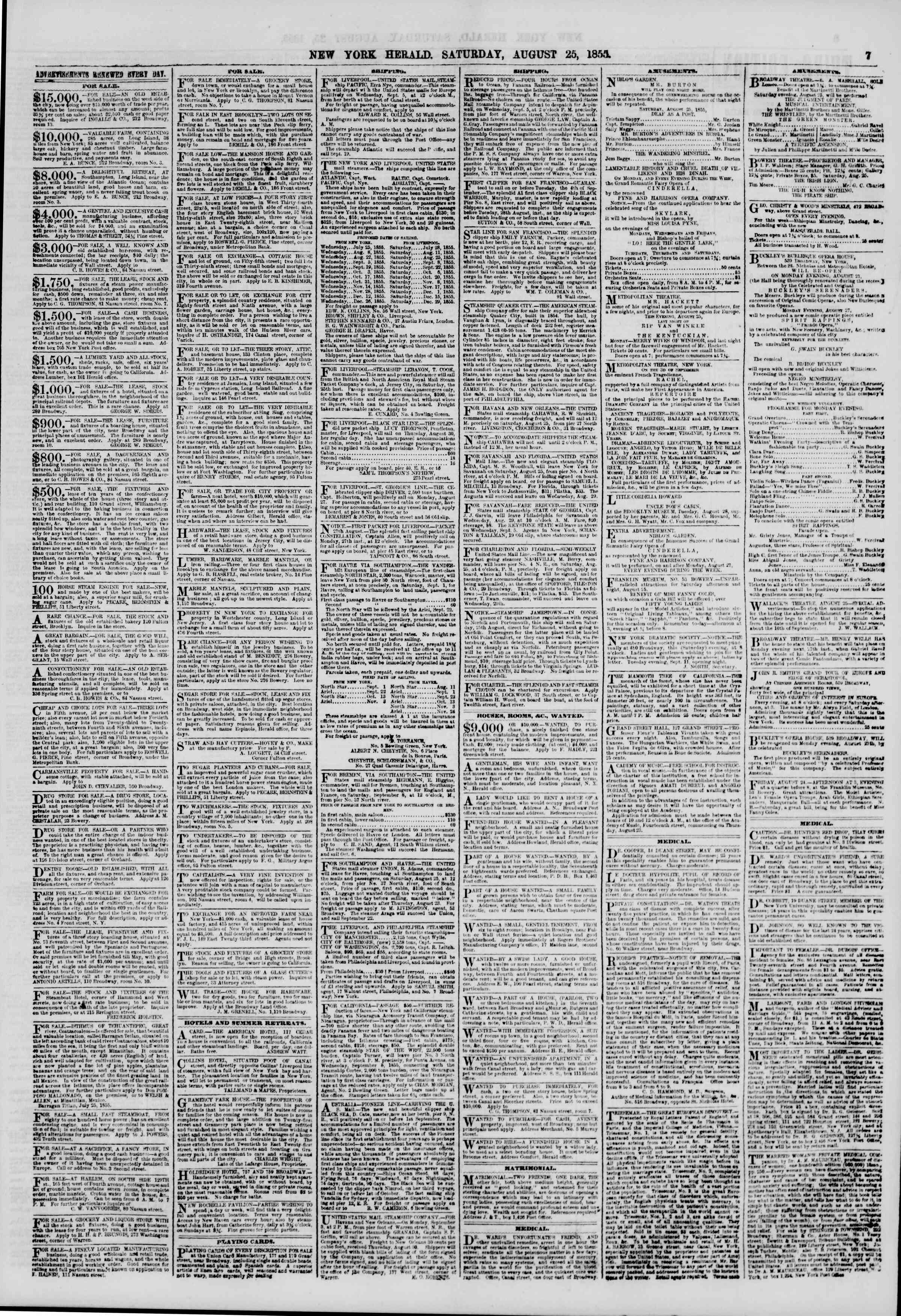 Newspaper of The New York Herald dated August 25, 1855 Page 7