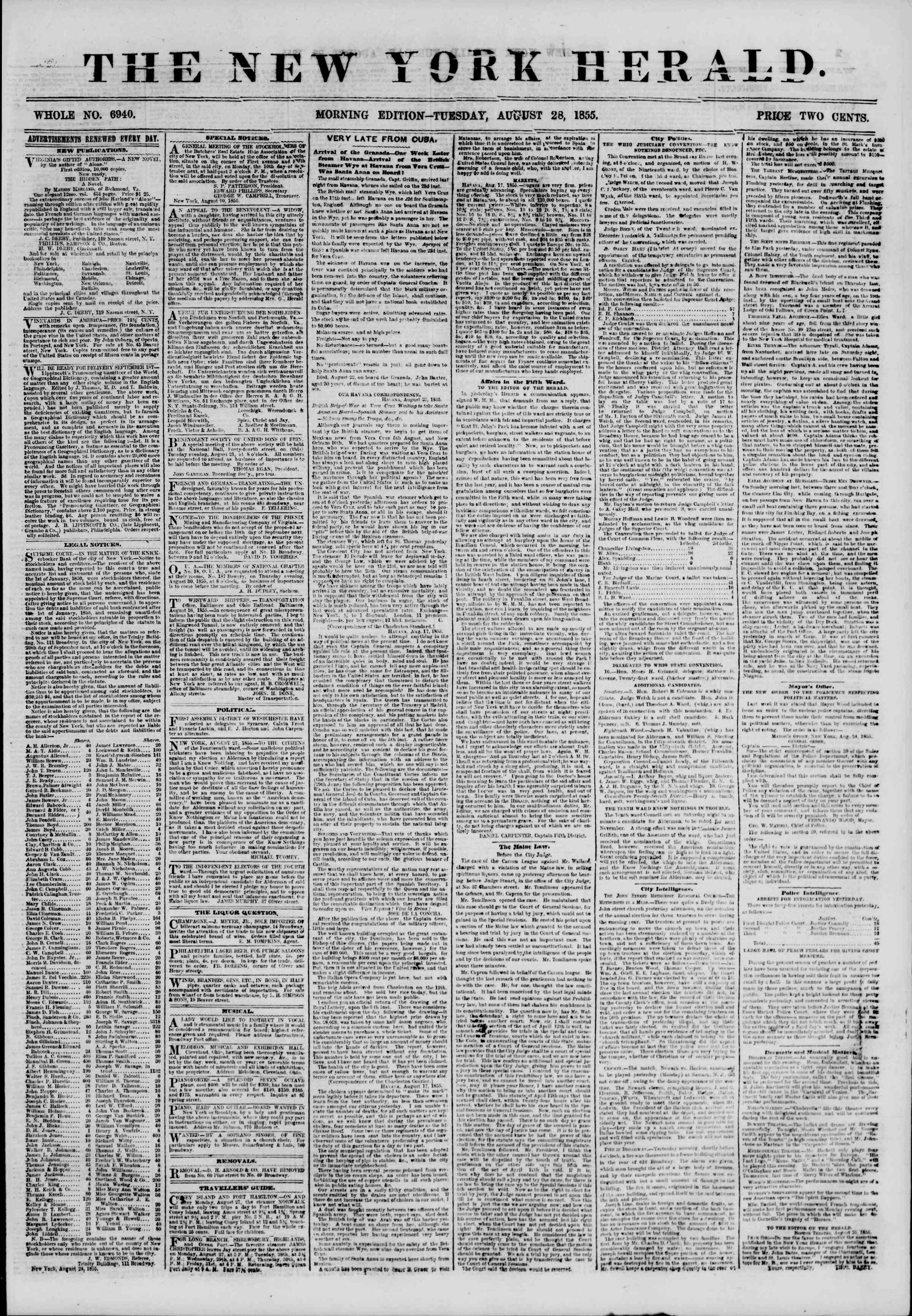 Newspaper of The New York Herald dated August 28, 1855 Page 1