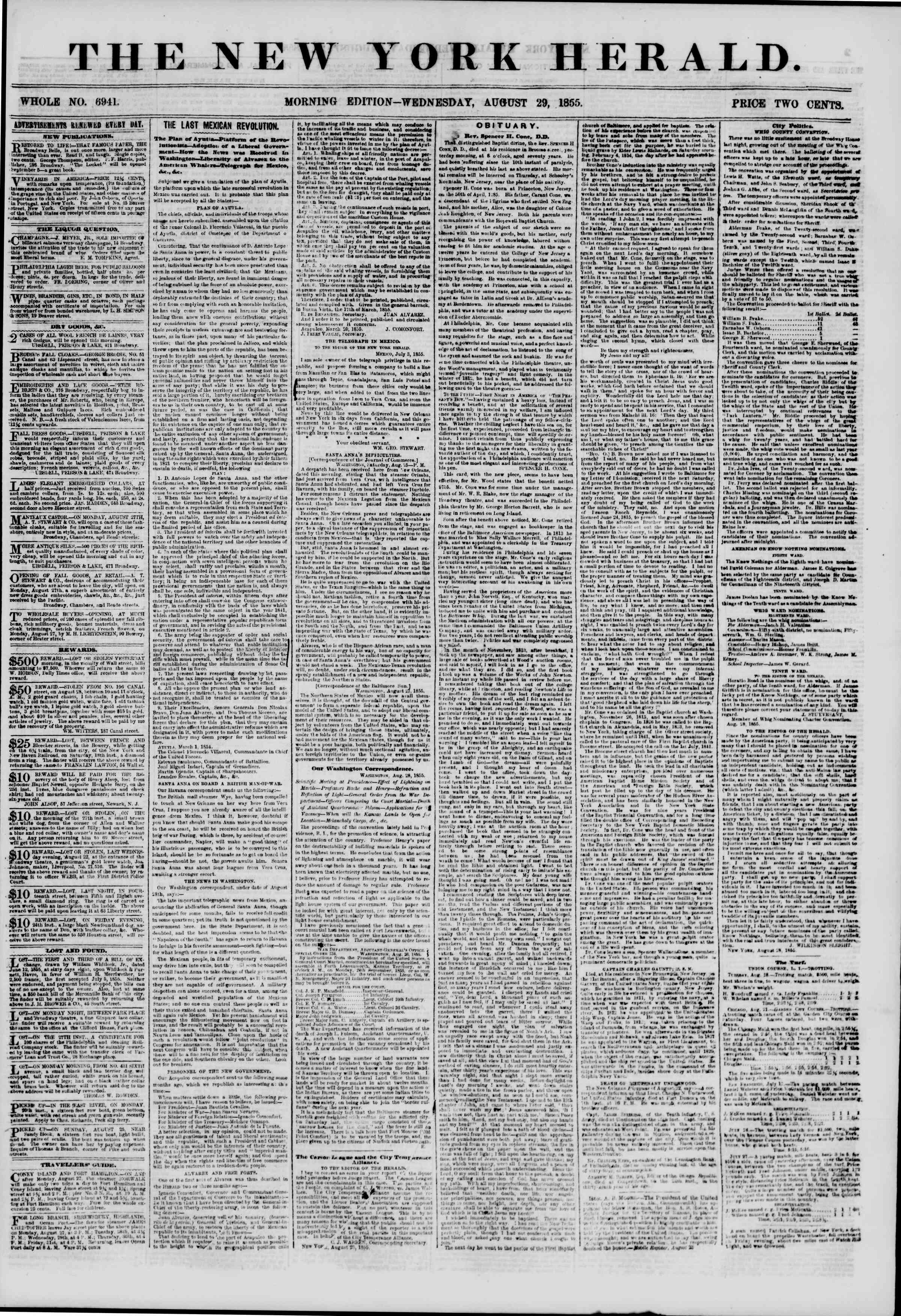Newspaper of The New York Herald dated August 29, 1855 Page 1