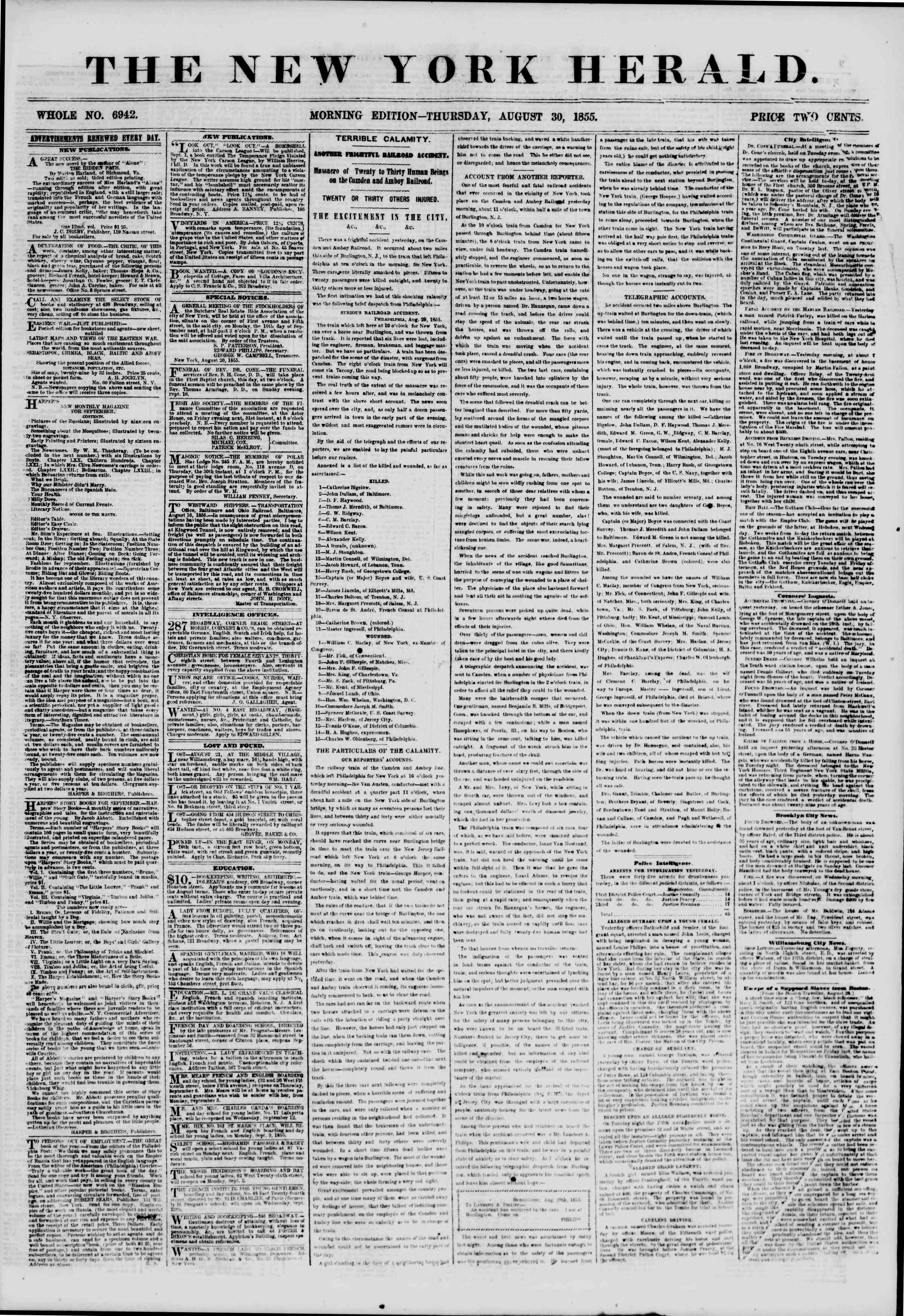Newspaper of The New York Herald dated August 30, 1855 Page 1