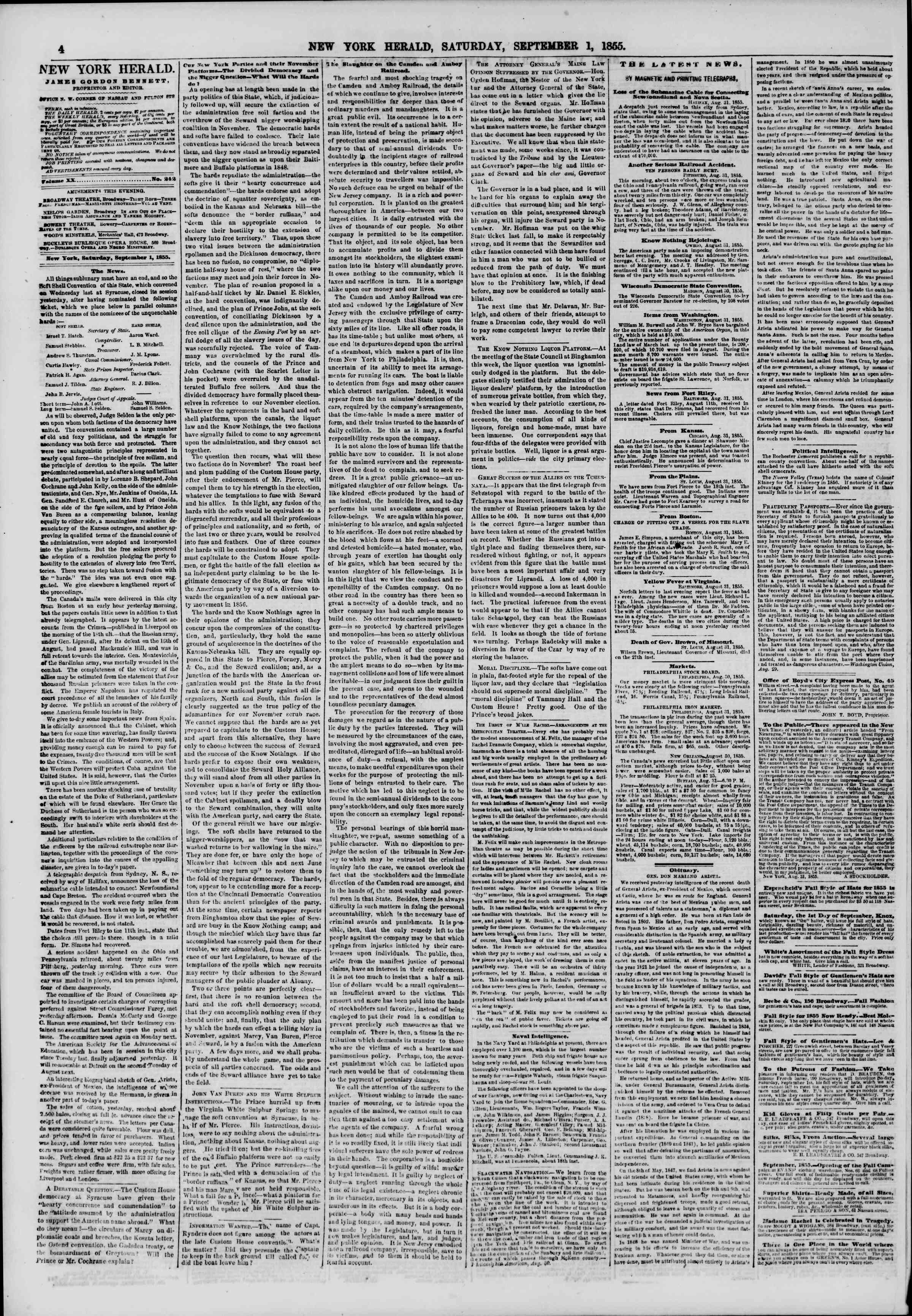 Newspaper of The New York Herald dated September 1, 1855 Page 4
