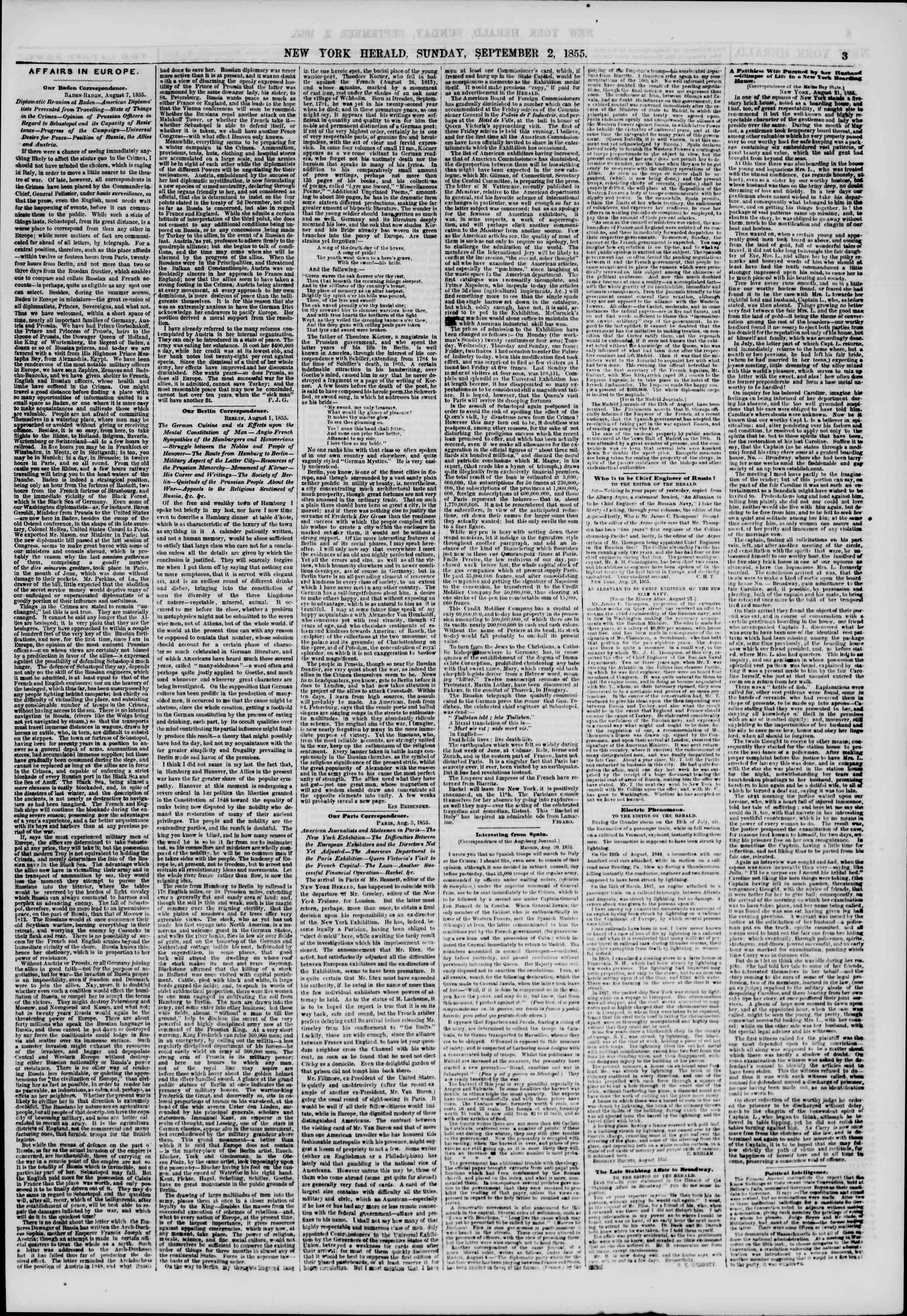 Newspaper of The New York Herald dated September 2, 1855 Page 3