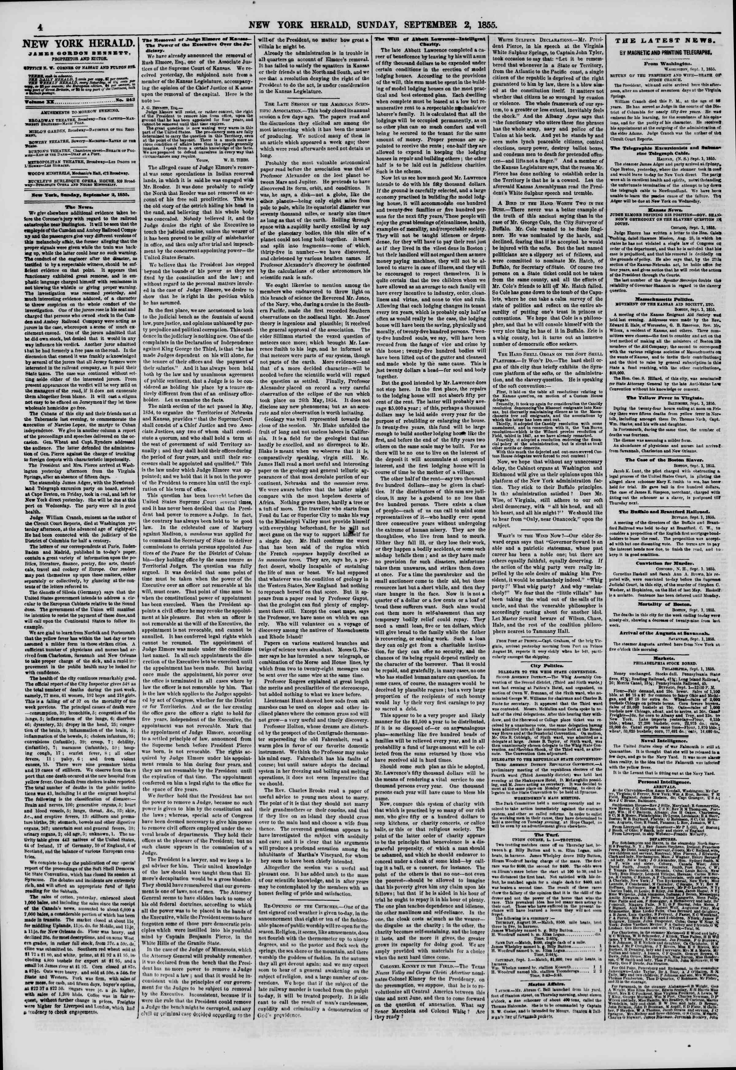 Newspaper of The New York Herald dated September 2, 1855 Page 4