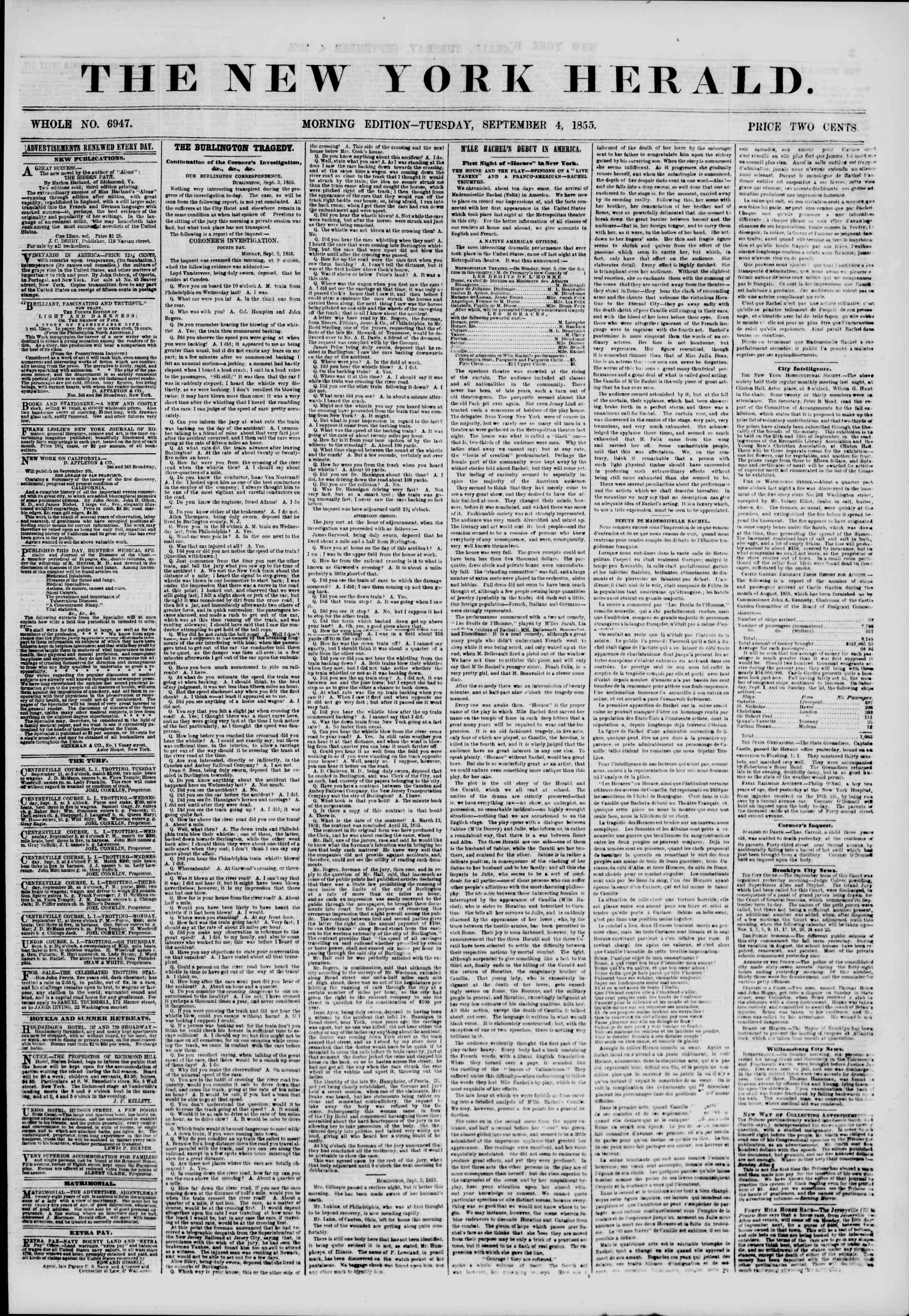 Newspaper of The New York Herald dated September 4, 1855 Page 1