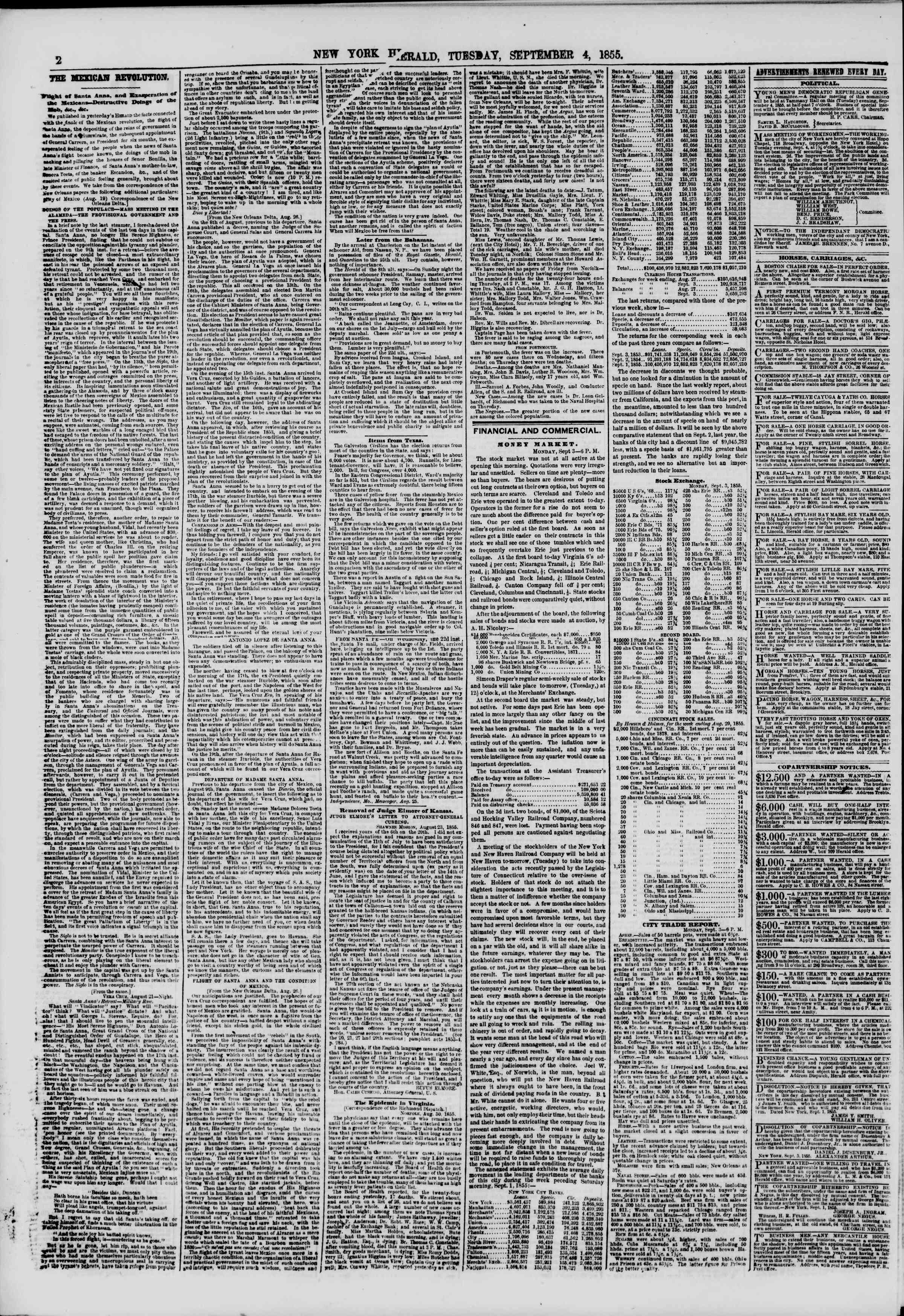Newspaper of The New York Herald dated September 4, 1855 Page 2