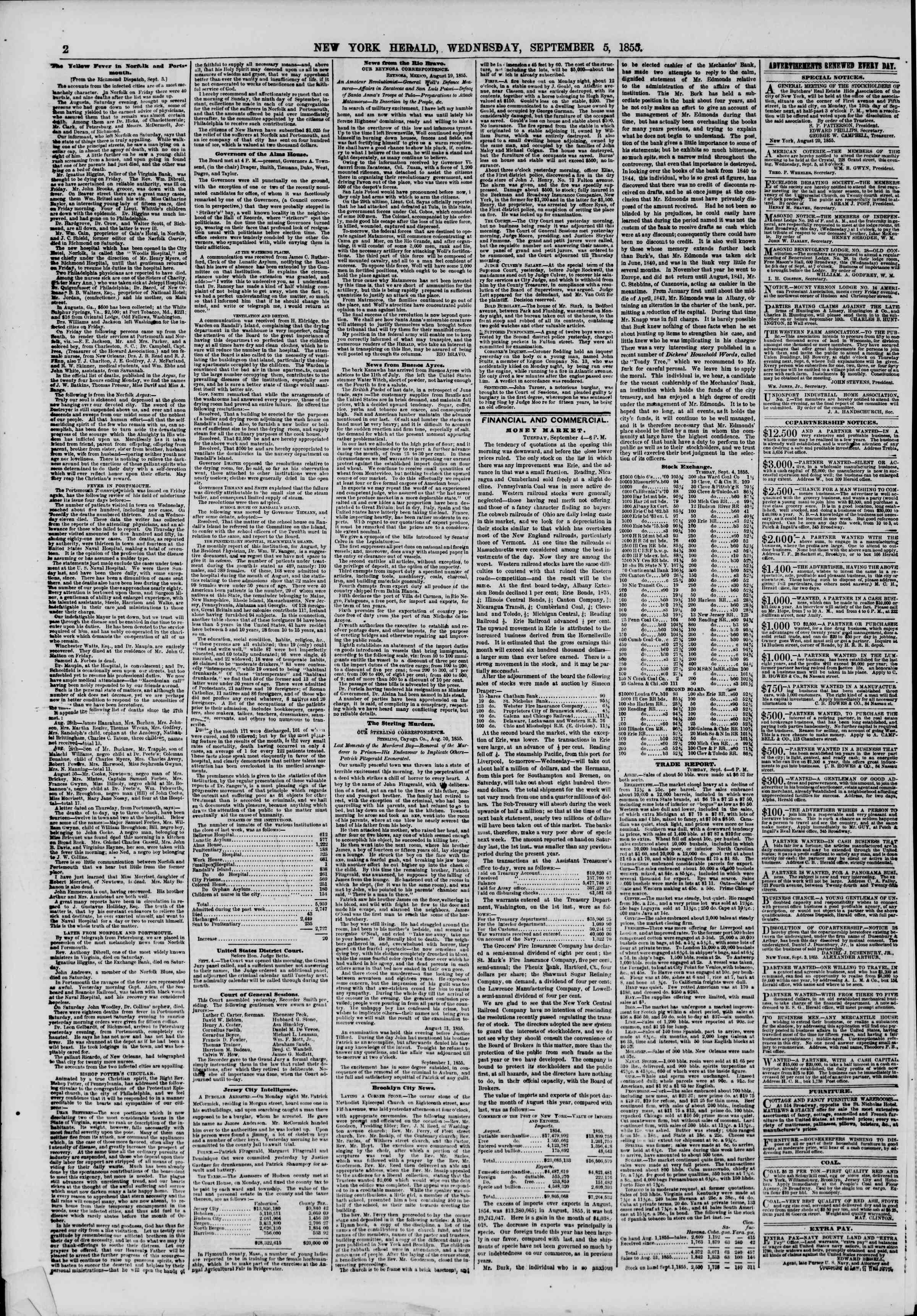 Newspaper of The New York Herald dated September 5, 1855 Page 2