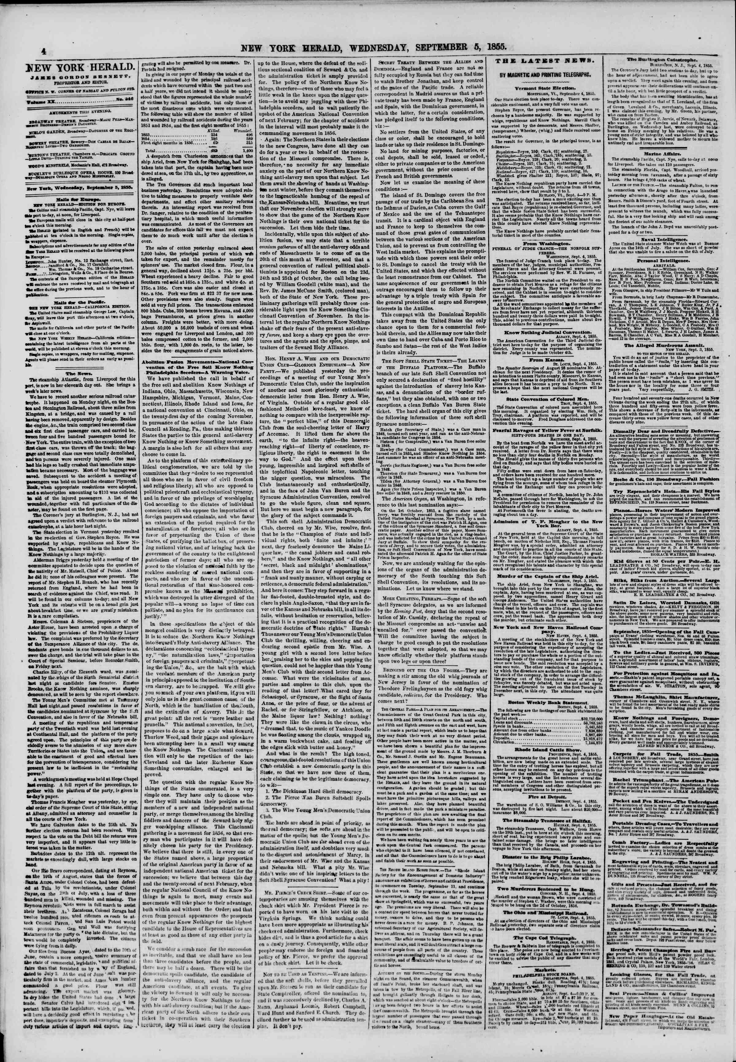 Newspaper of The New York Herald dated September 5, 1855 Page 4