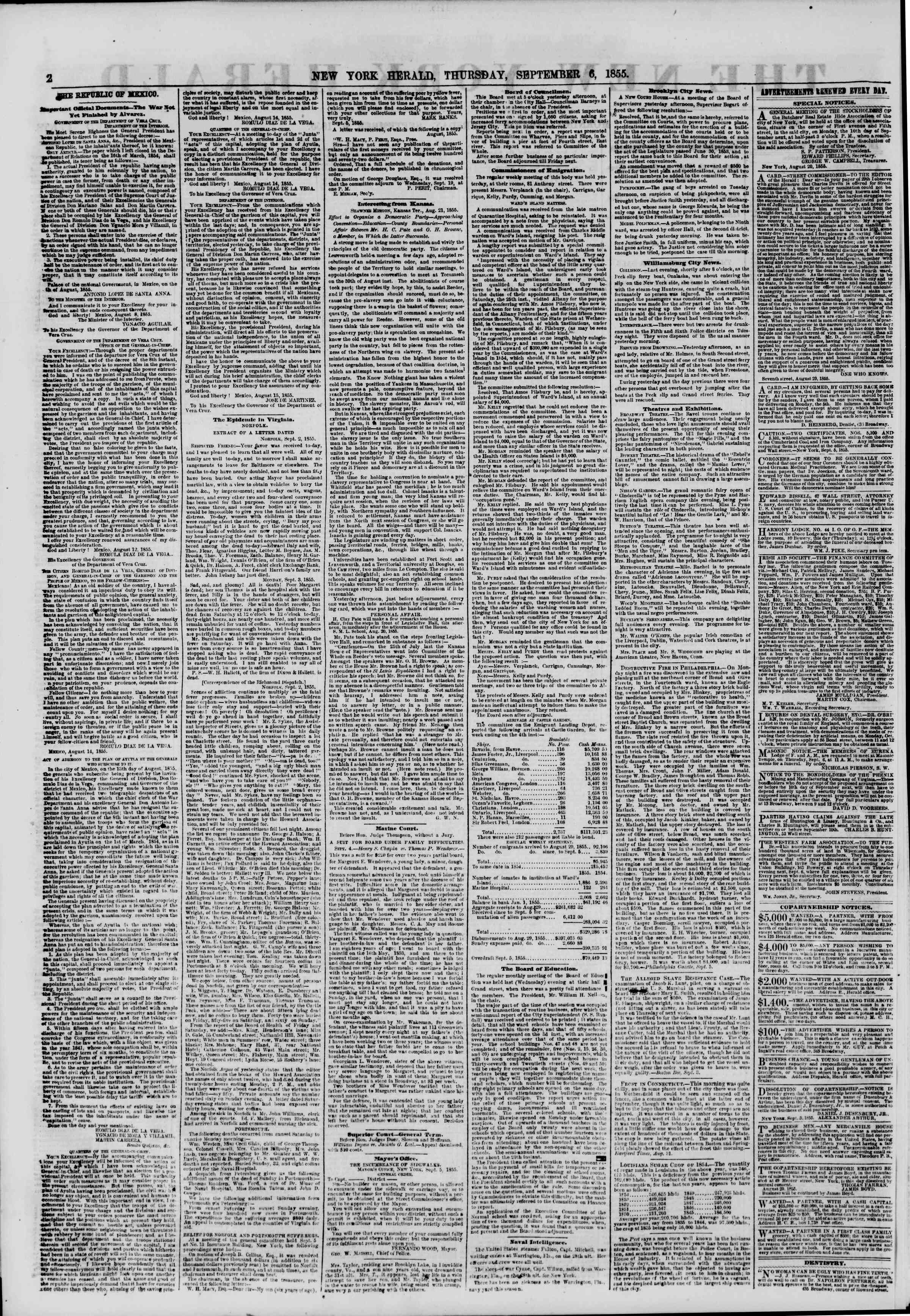Newspaper of The New York Herald dated September 6, 1855 Page 2