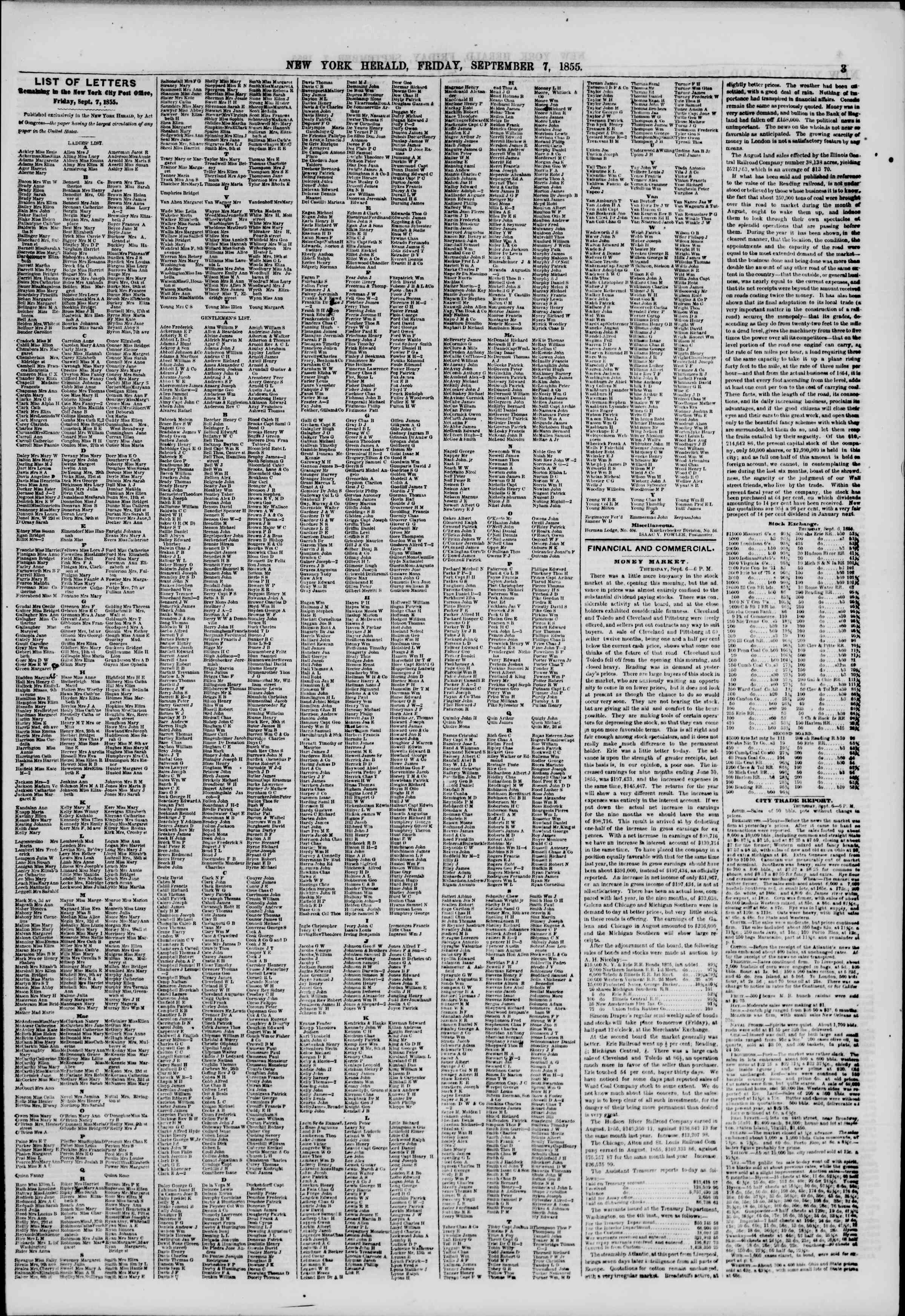 Newspaper of The New York Herald dated September 7, 1855 Page 3