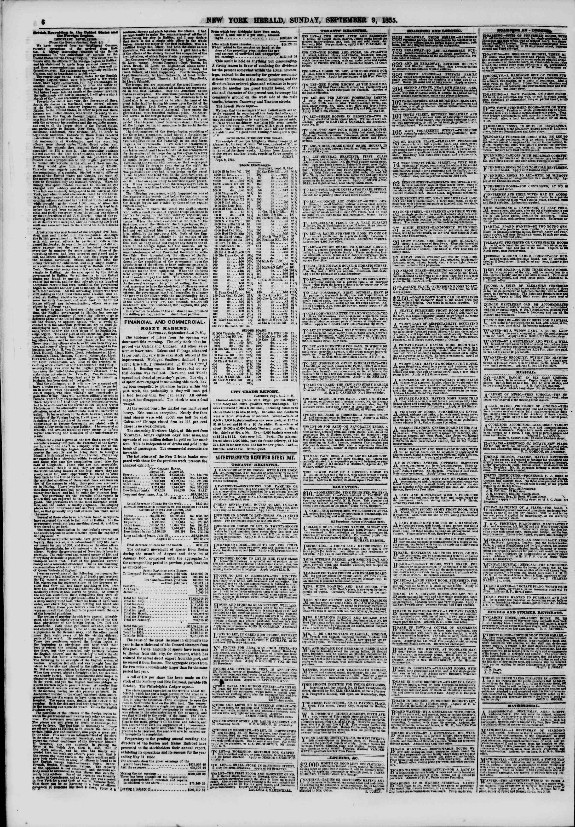 Newspaper of The New York Herald dated September 9, 1855 Page 6