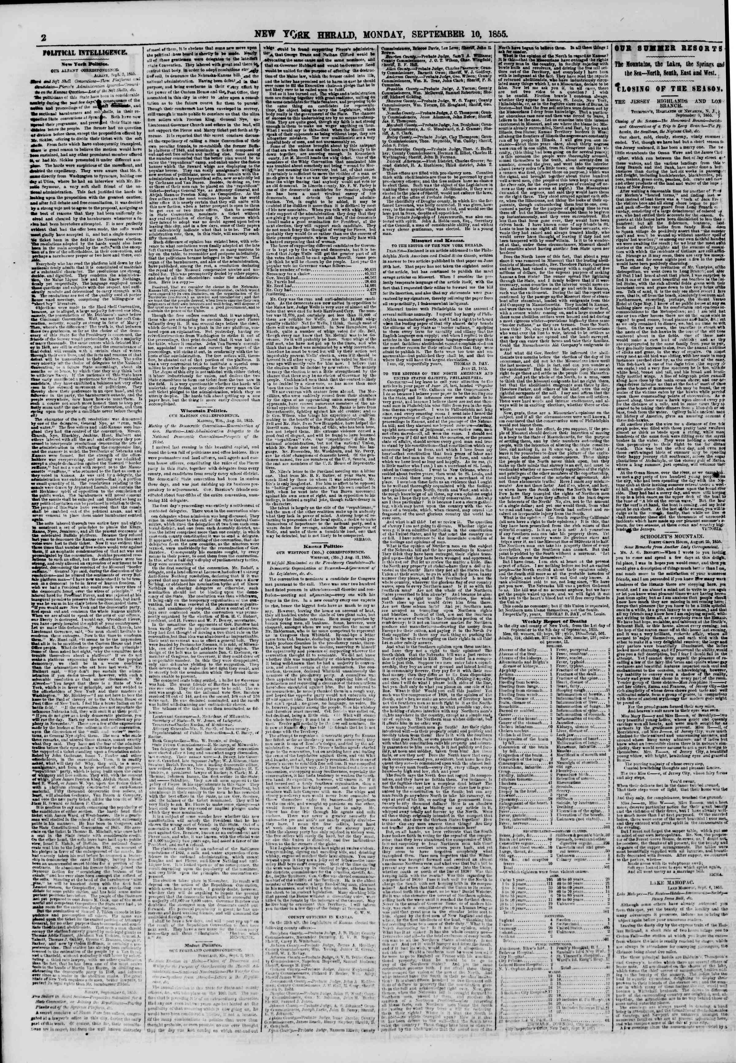 Newspaper of The New York Herald dated September 10, 1855 Page 2