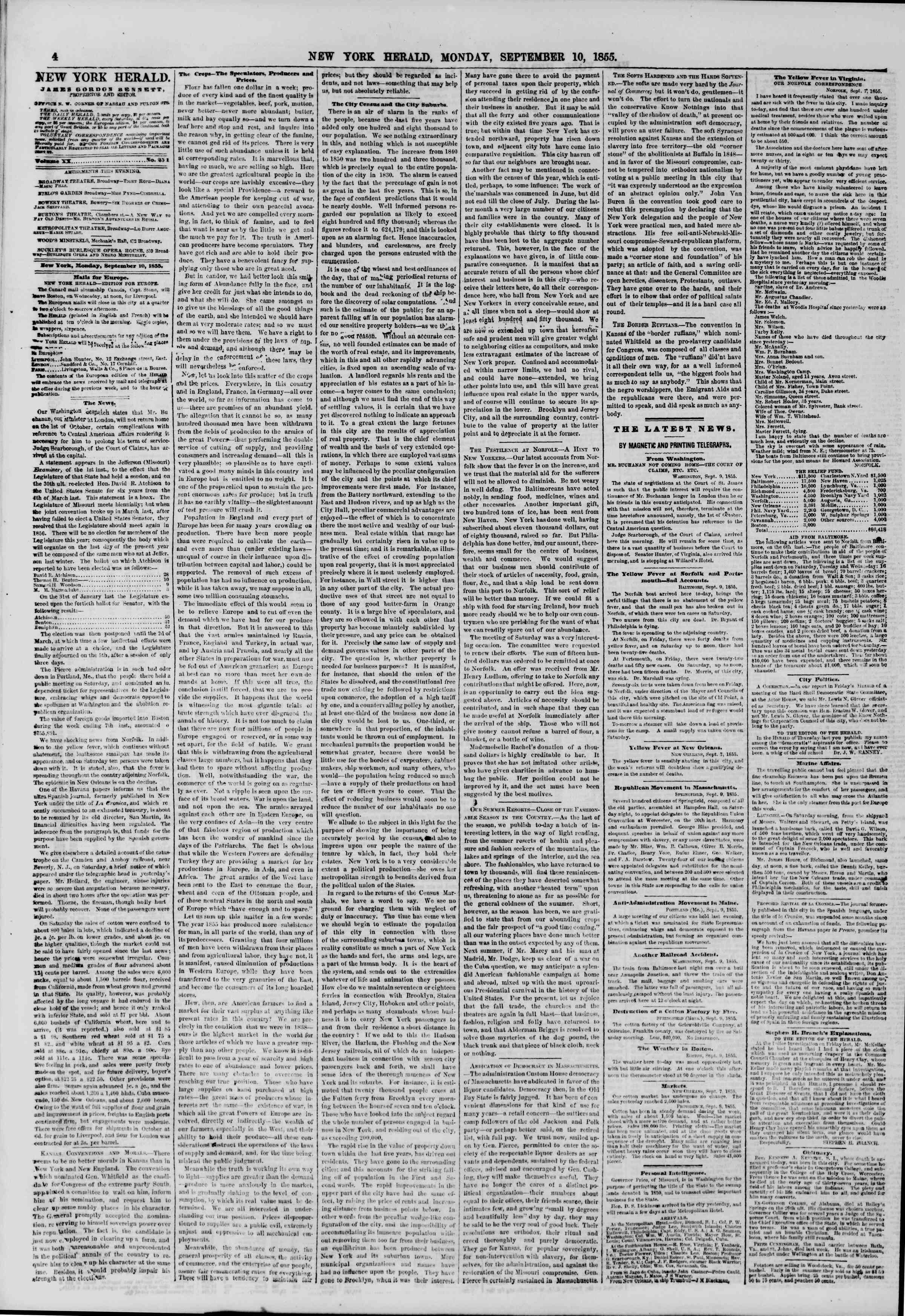 Newspaper of The New York Herald dated September 10, 1855 Page 4