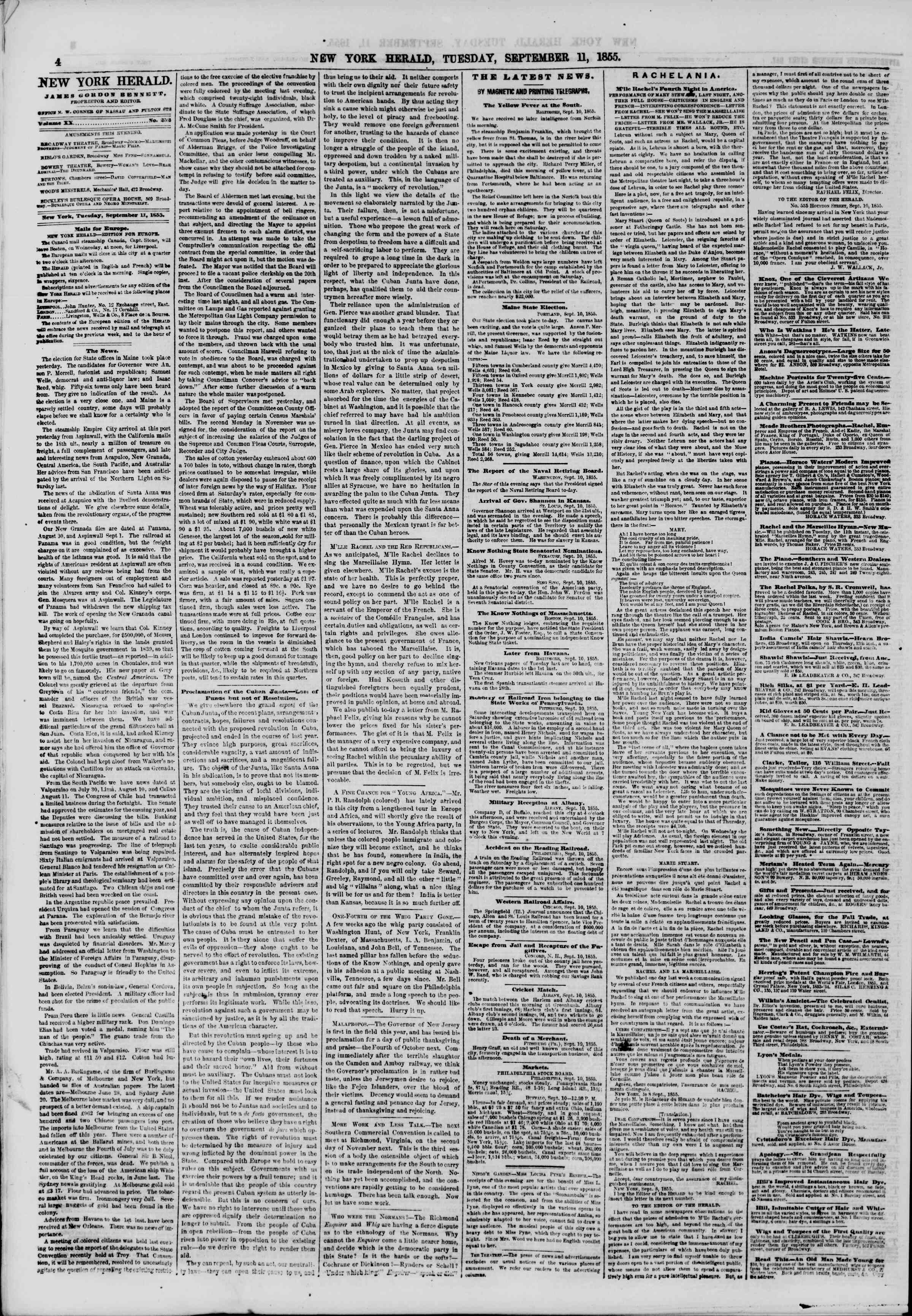 Newspaper of The New York Herald dated September 11, 1855 Page 4